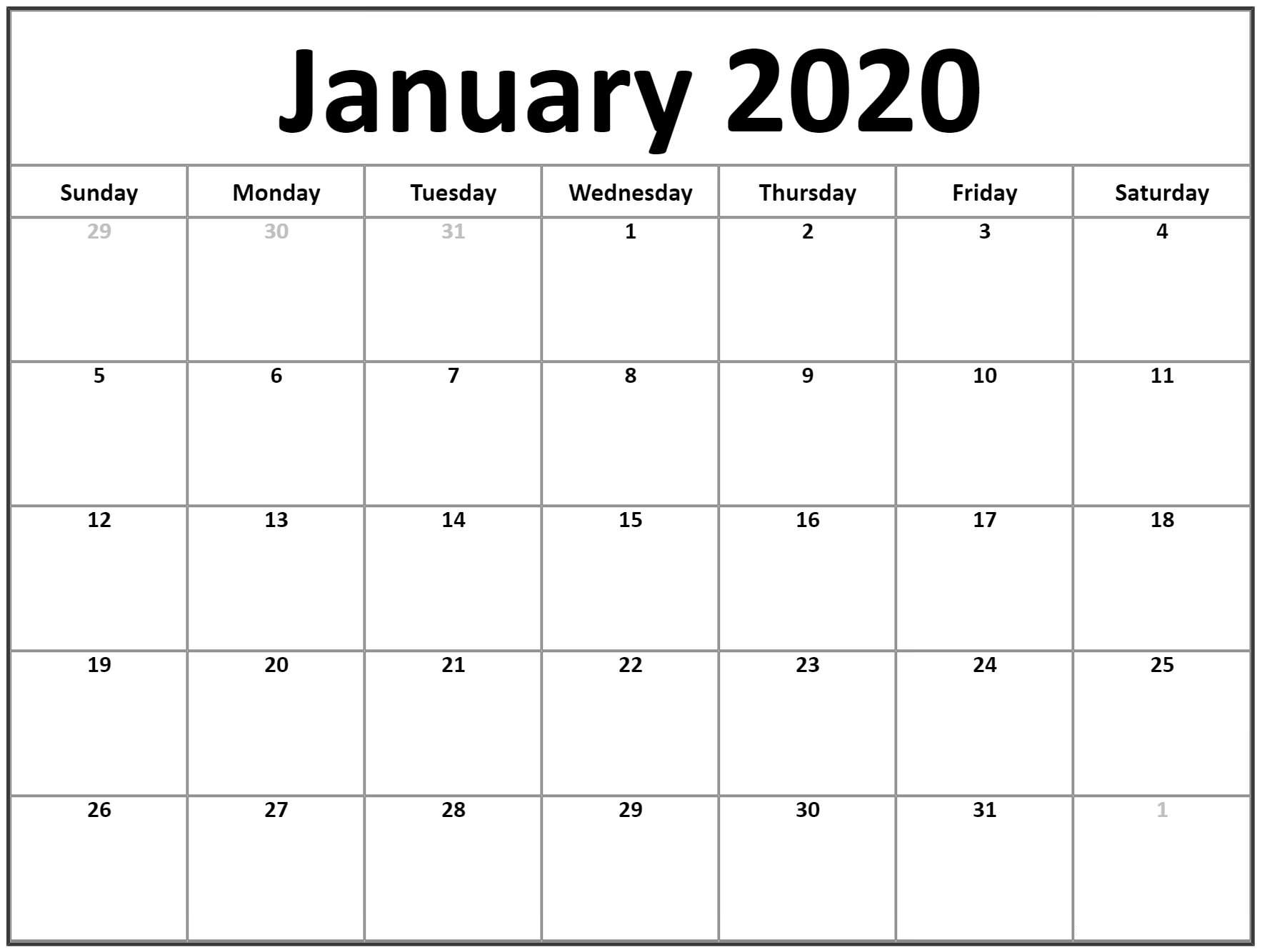 January 2020 Blank Calendar Printable Word Pdf Template