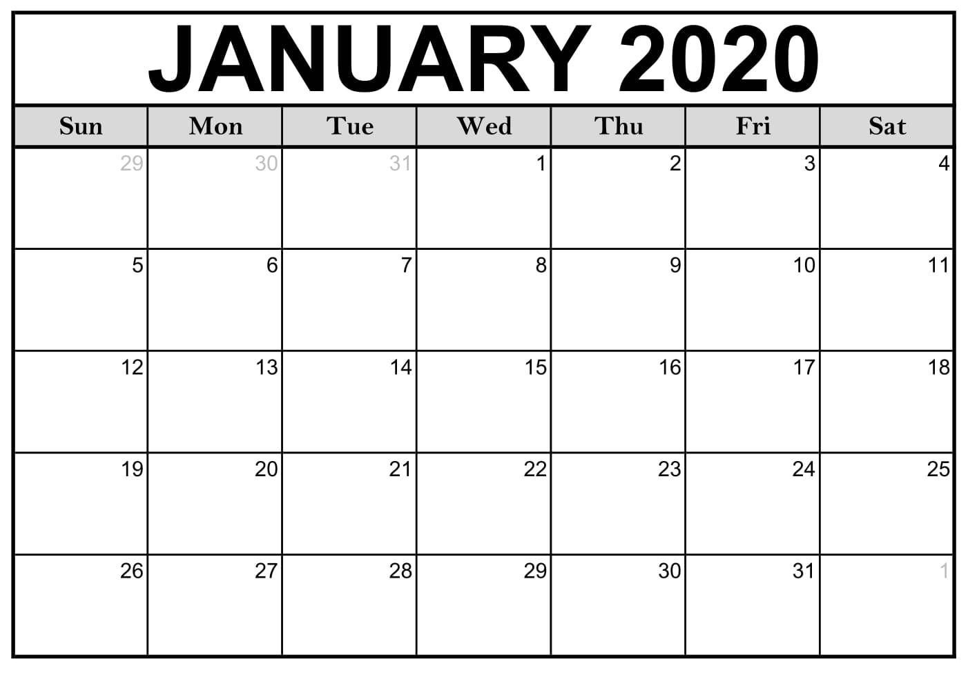 January 2020 Calendar Pdf In Large Size Paper Sheet | Free