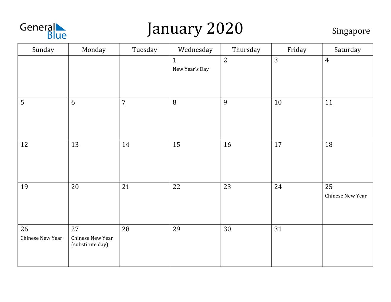 January 2020 Calendar - Singapore