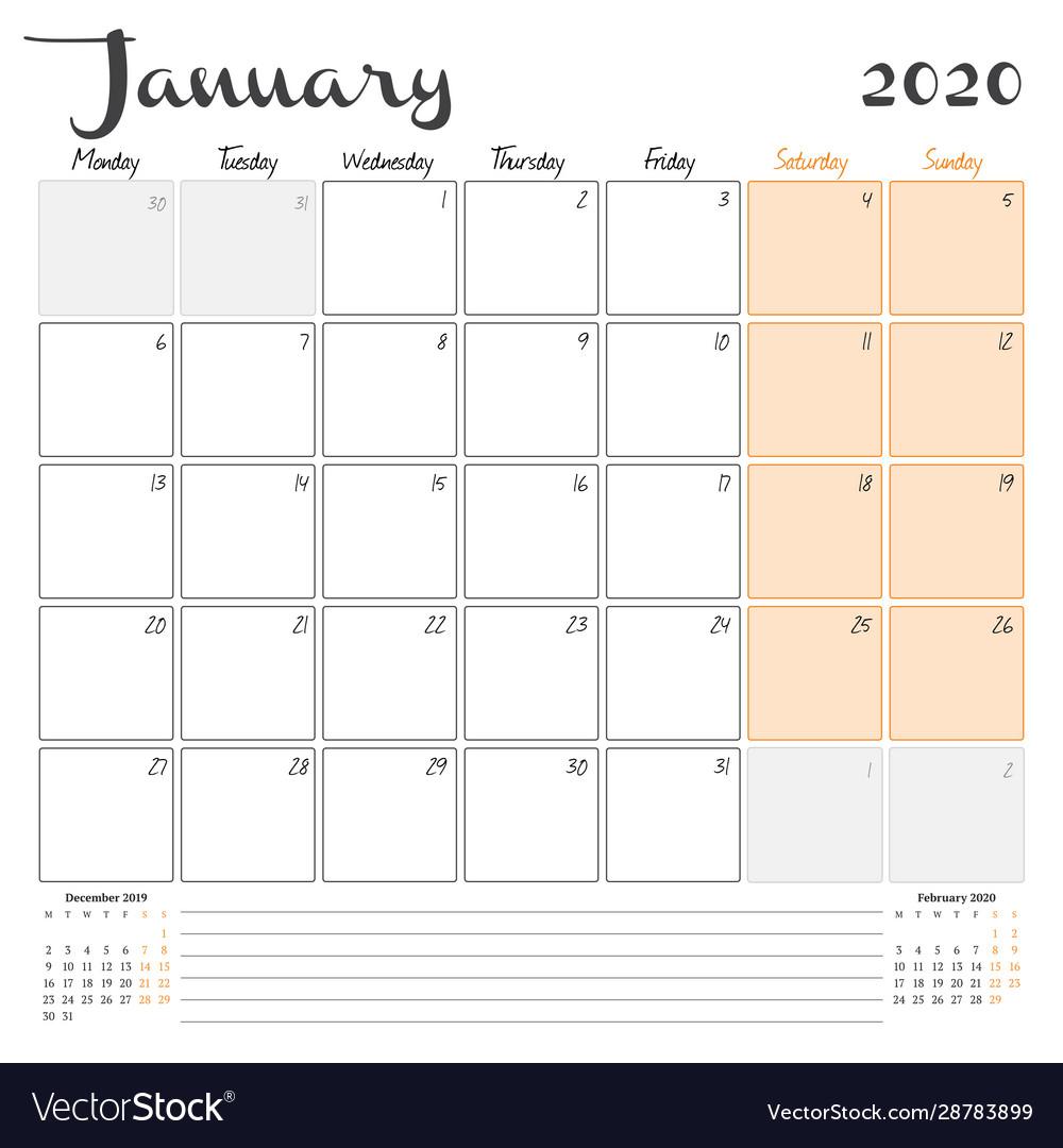 January 2020 Monthly Calendar Planner Printable
