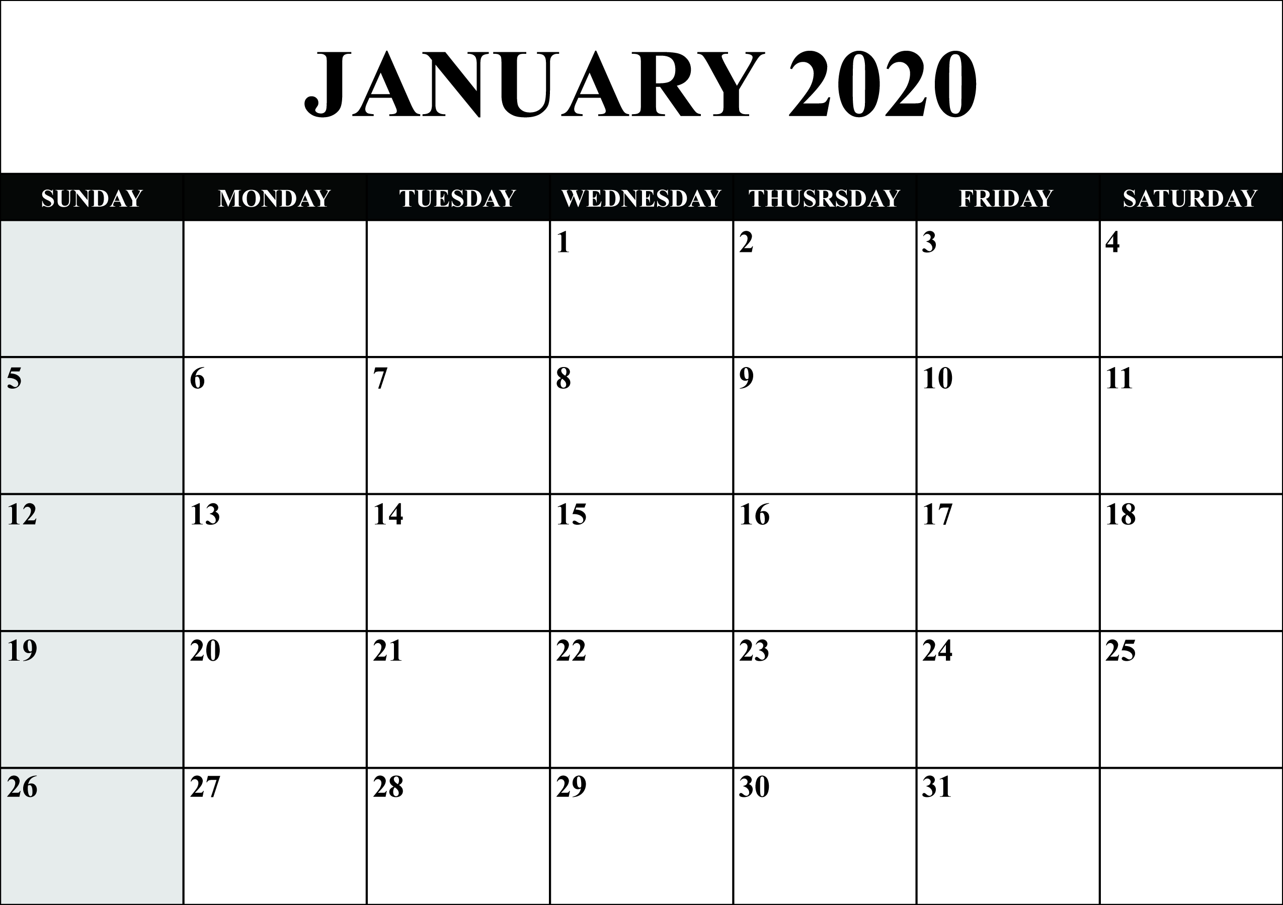 January Printable Calendar 2020 – Blank Templates – 2020