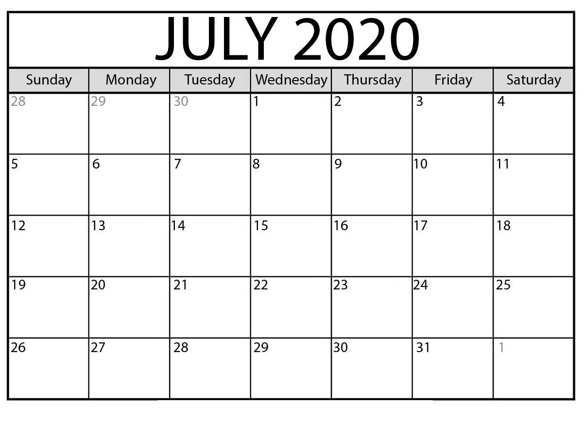 July Printable Calendar 2020 – Free Templates – 2020 Free