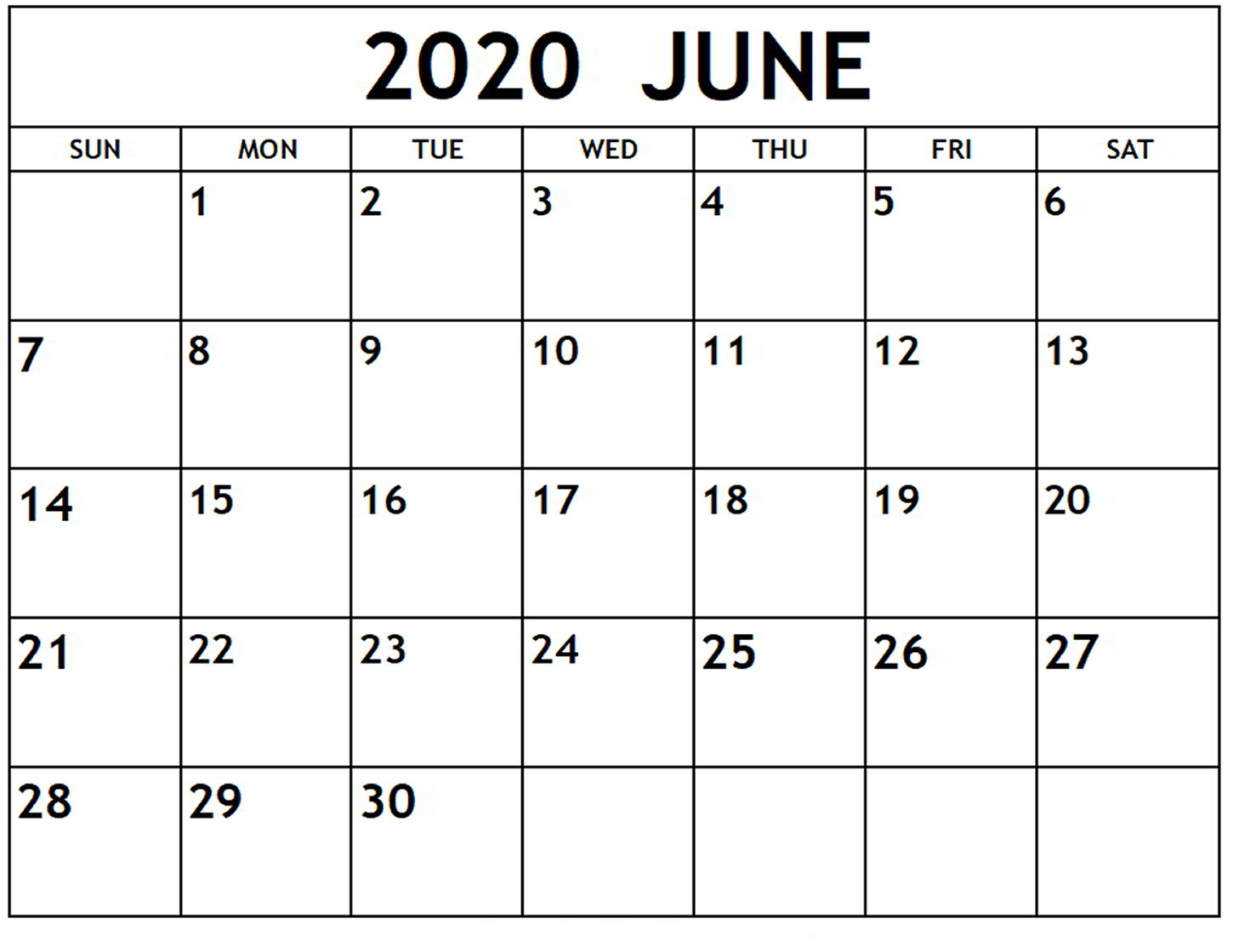 June Printable Calendar 2020 – Free Templates – 2020 Free