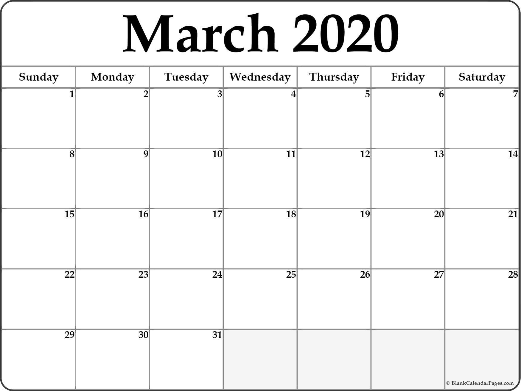 March 2020 Blank Calendar - Temusi