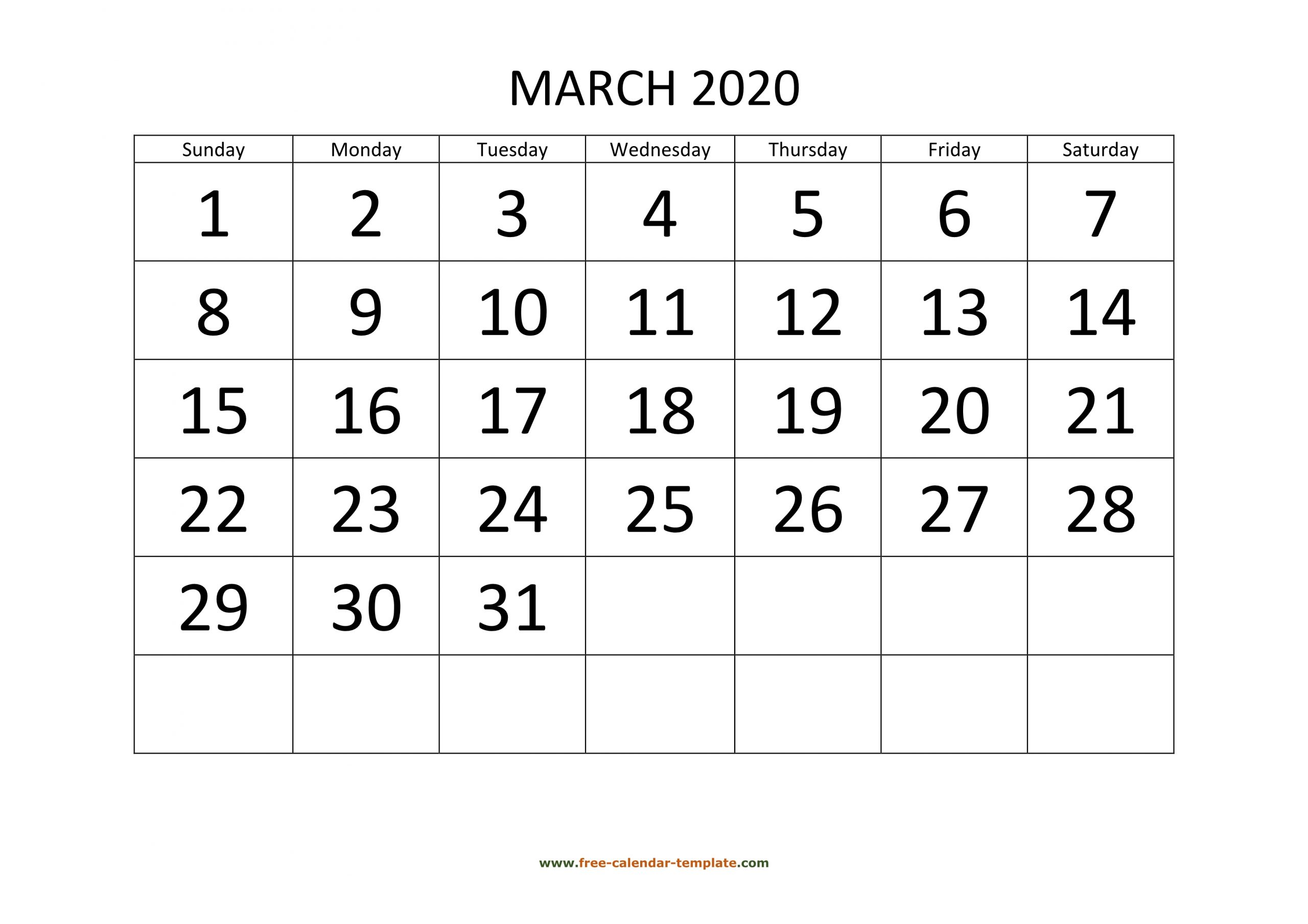 March 2020 Calendar Designed With Large Font (Horizontal
