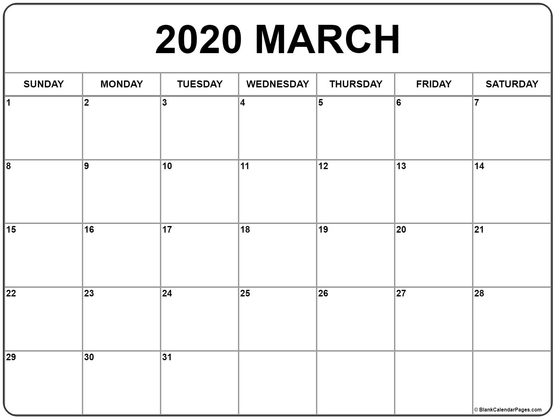March 2020 Calendar | Free Printable Monthly Calendars-Blank