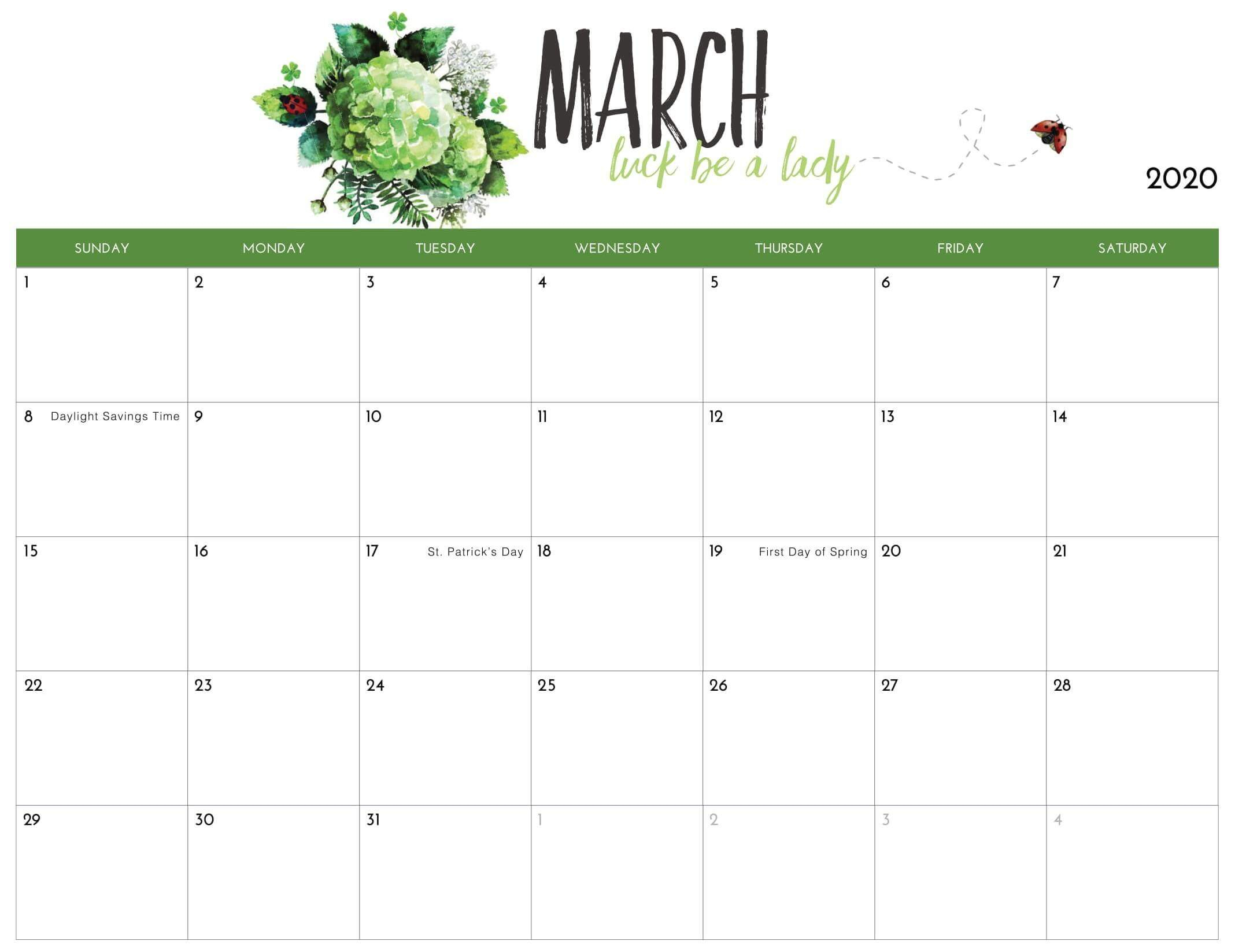 March 2020 Calendar Printable Excel Templates - Web Galaxy