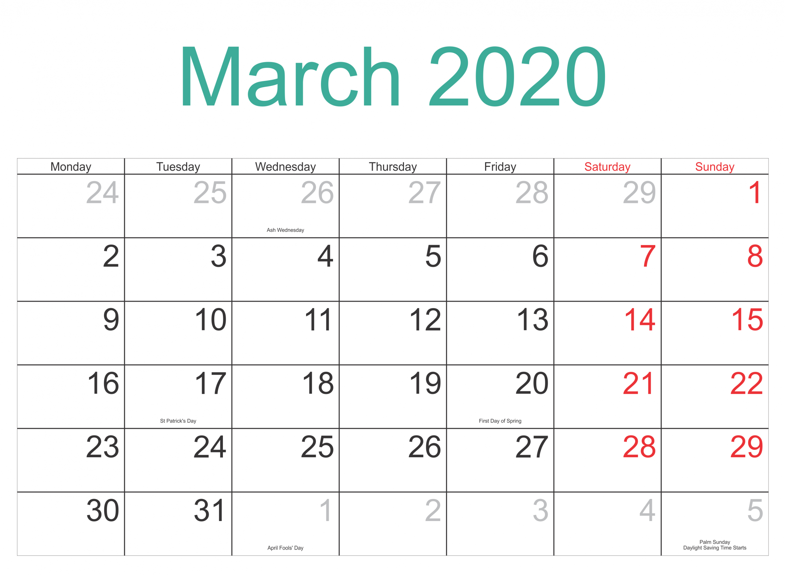 March 2020 Calendar With Holidays Template - 2019 Calendars