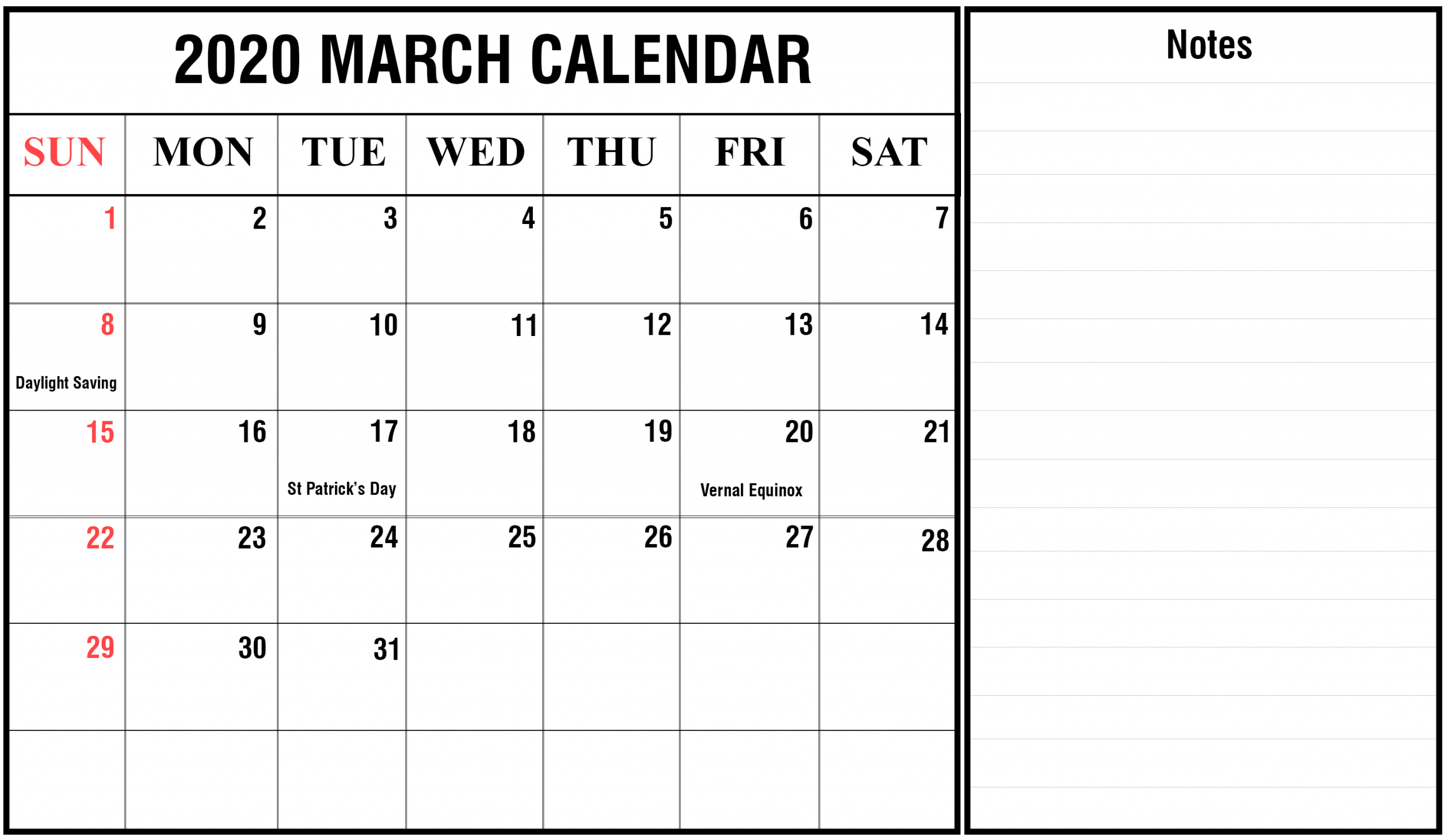 March 2020 Calendar With Holidays - Us, Uk, Canada