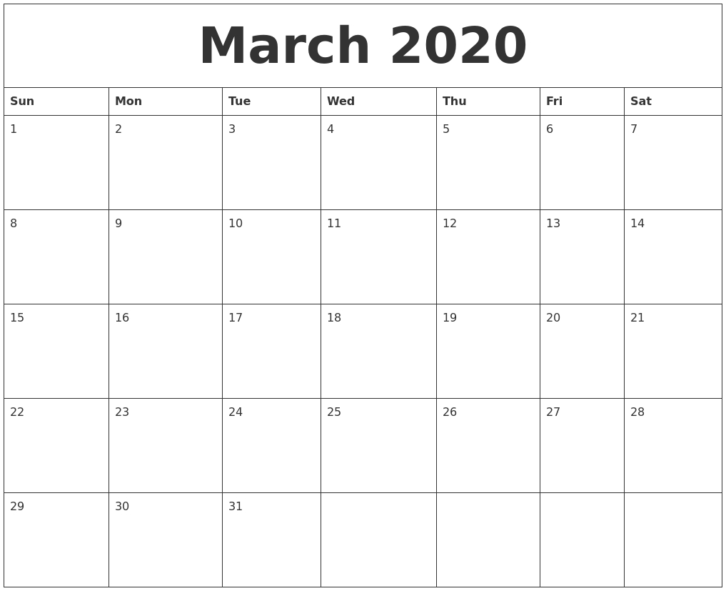 March 2020 Large Printable Calendar