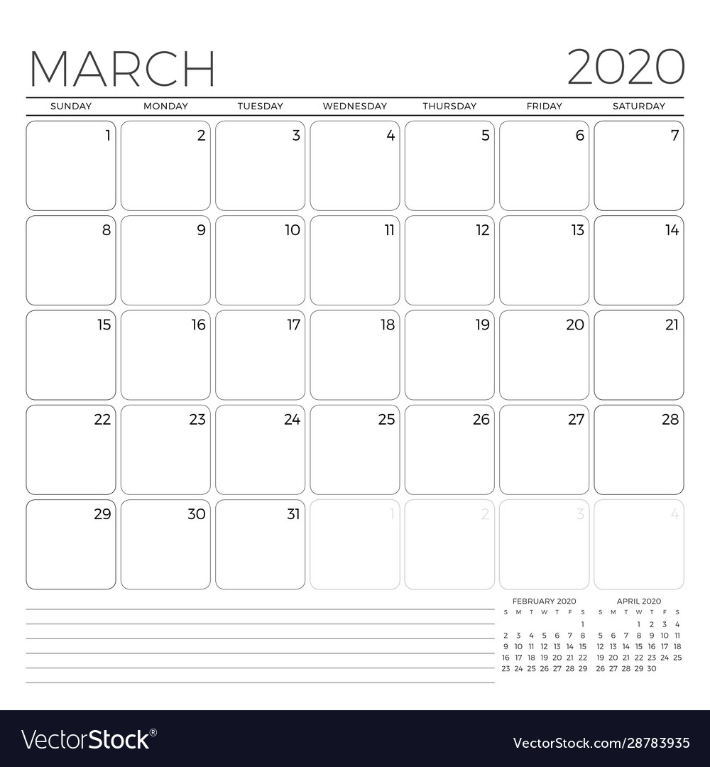 March 2020 Monthly Calendar Planner Template