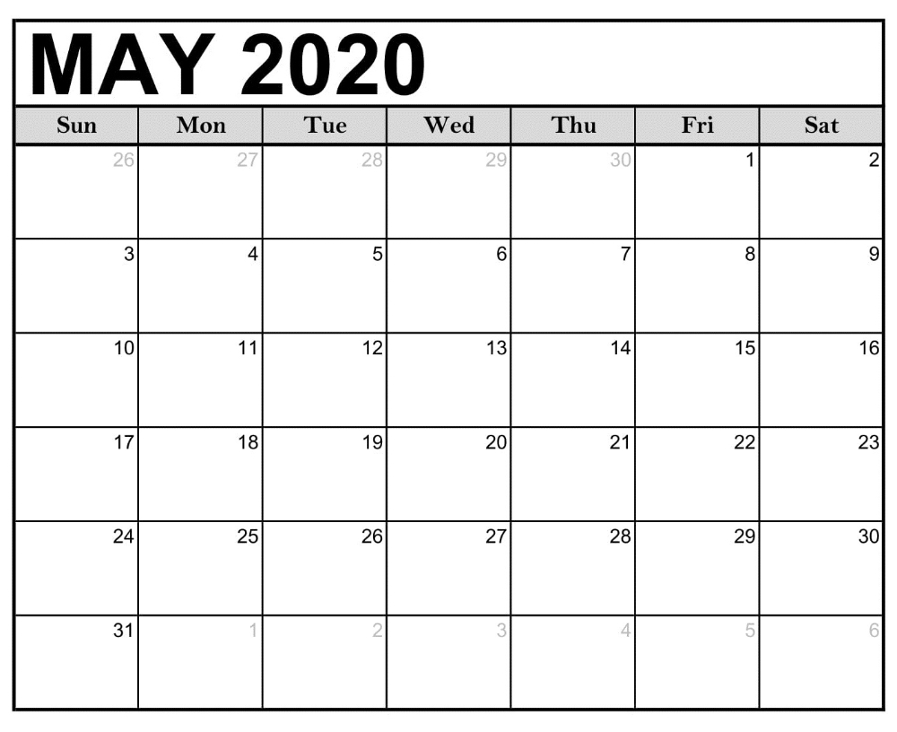 May 2020 Monthly Printable Calendar In 2020 | Calendar