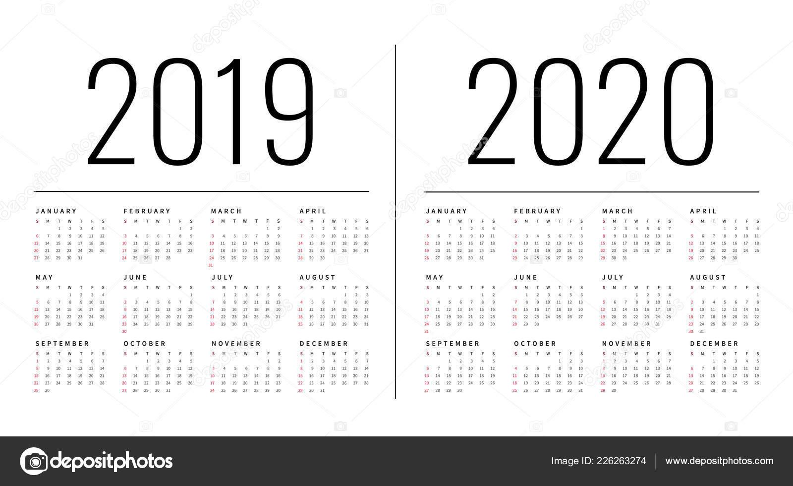 Mockup Simple Calendar Layout 2019 2020 Years Week Starts