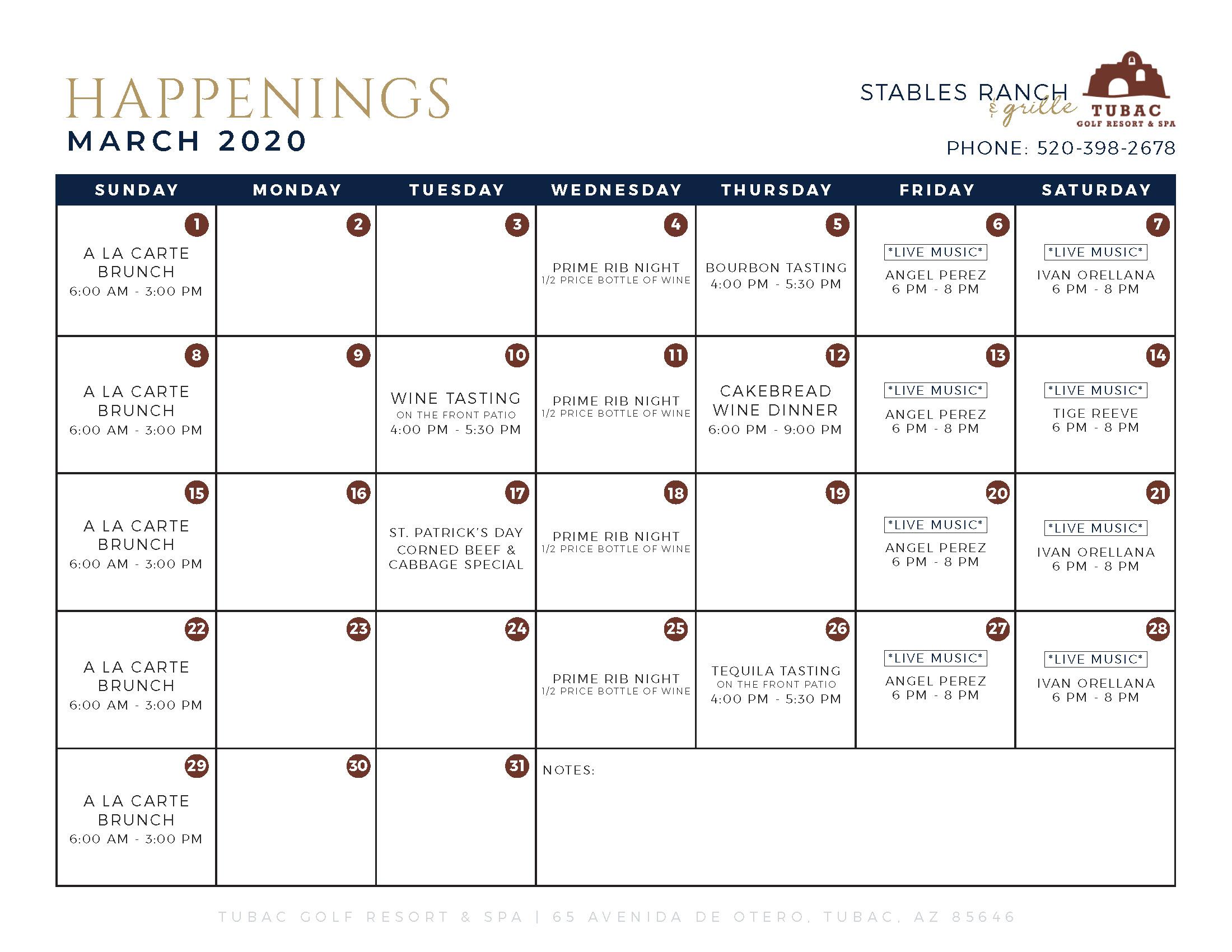 Monthly Calendar - March 2020 [Edited] - Tubac Golf Resort & Spa