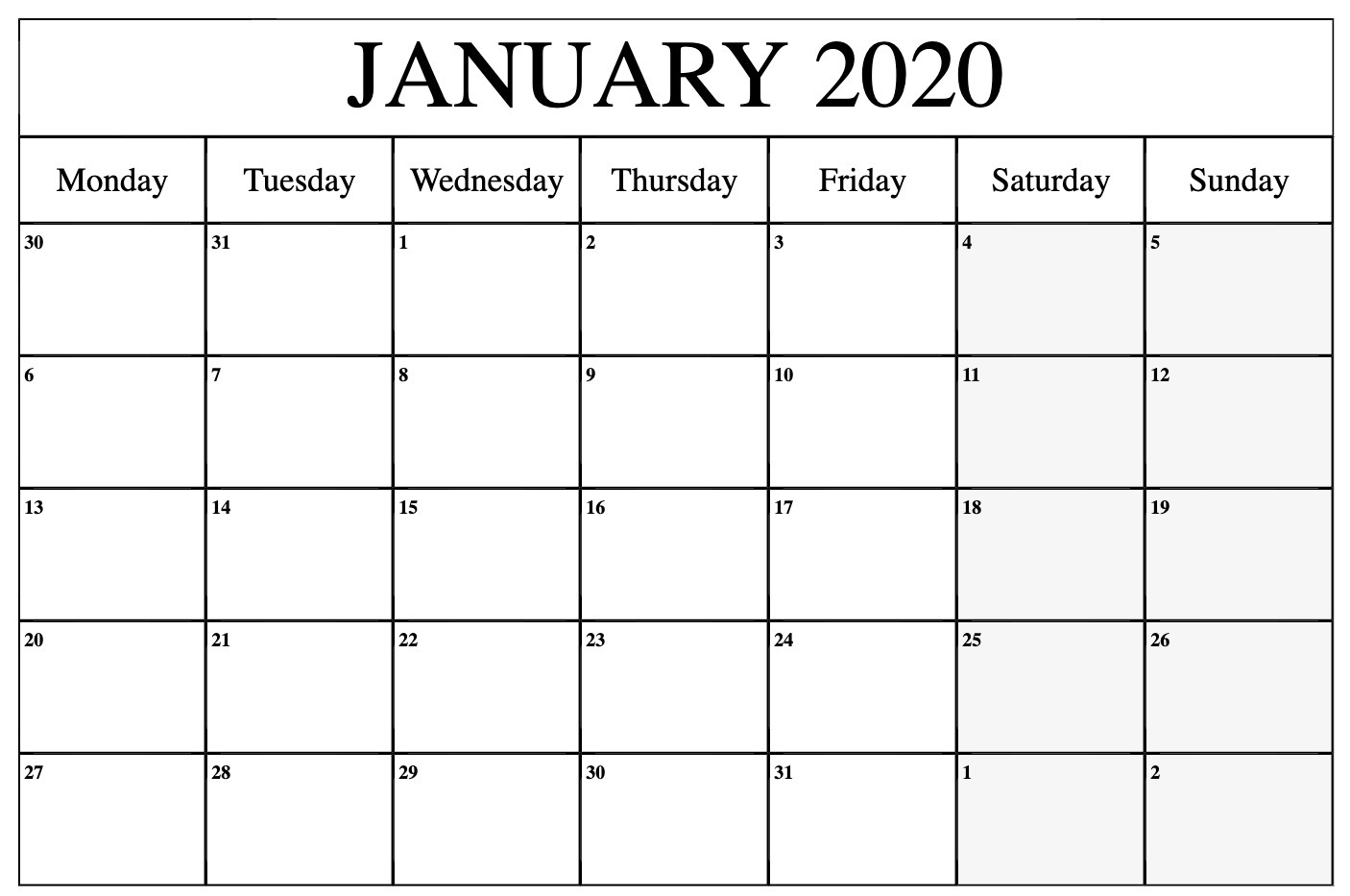 Monthly January 2020 Calendar Printable Pdf Word Excel