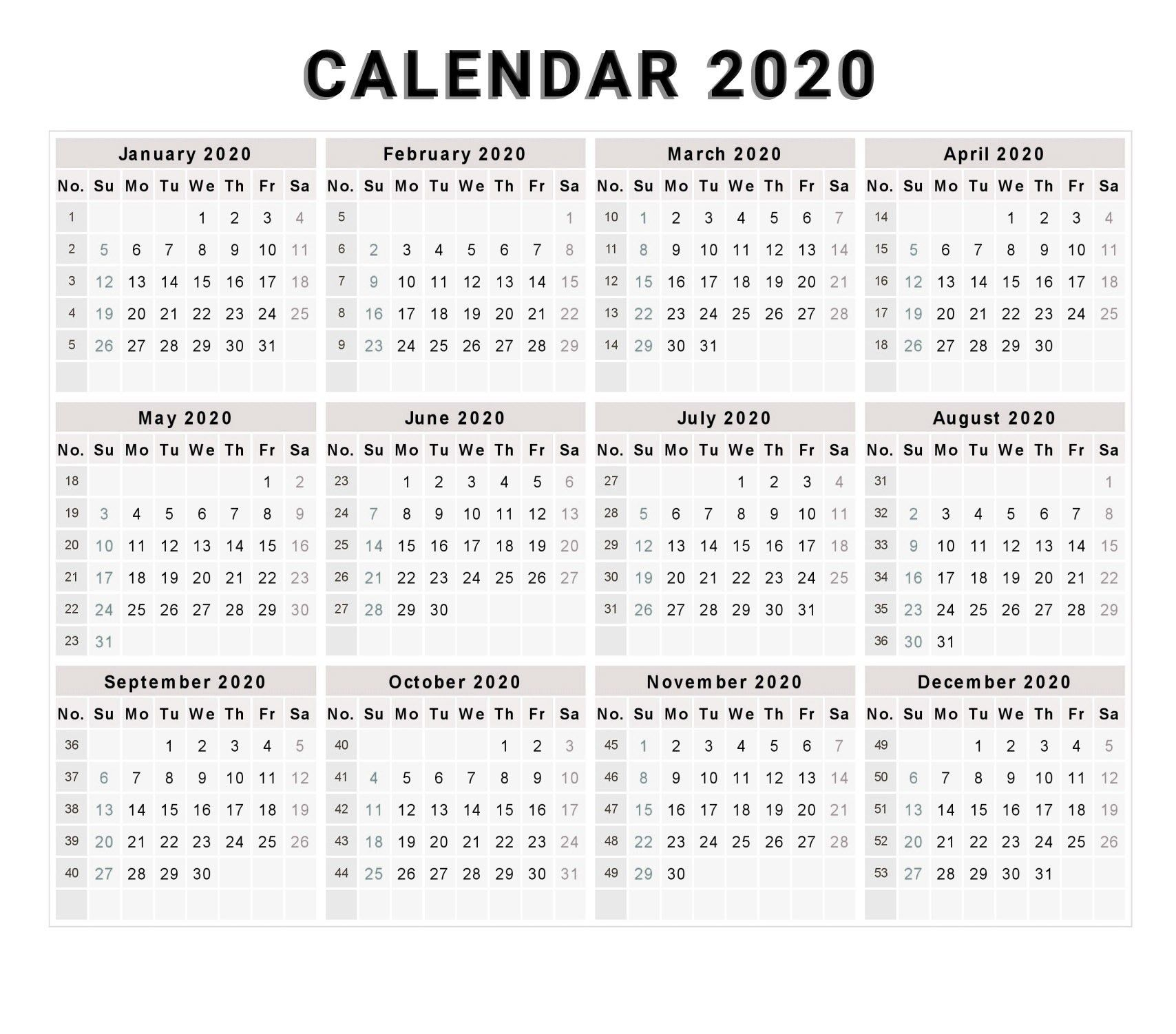 New Printable Calendar Free 2020 (With Images) | Free