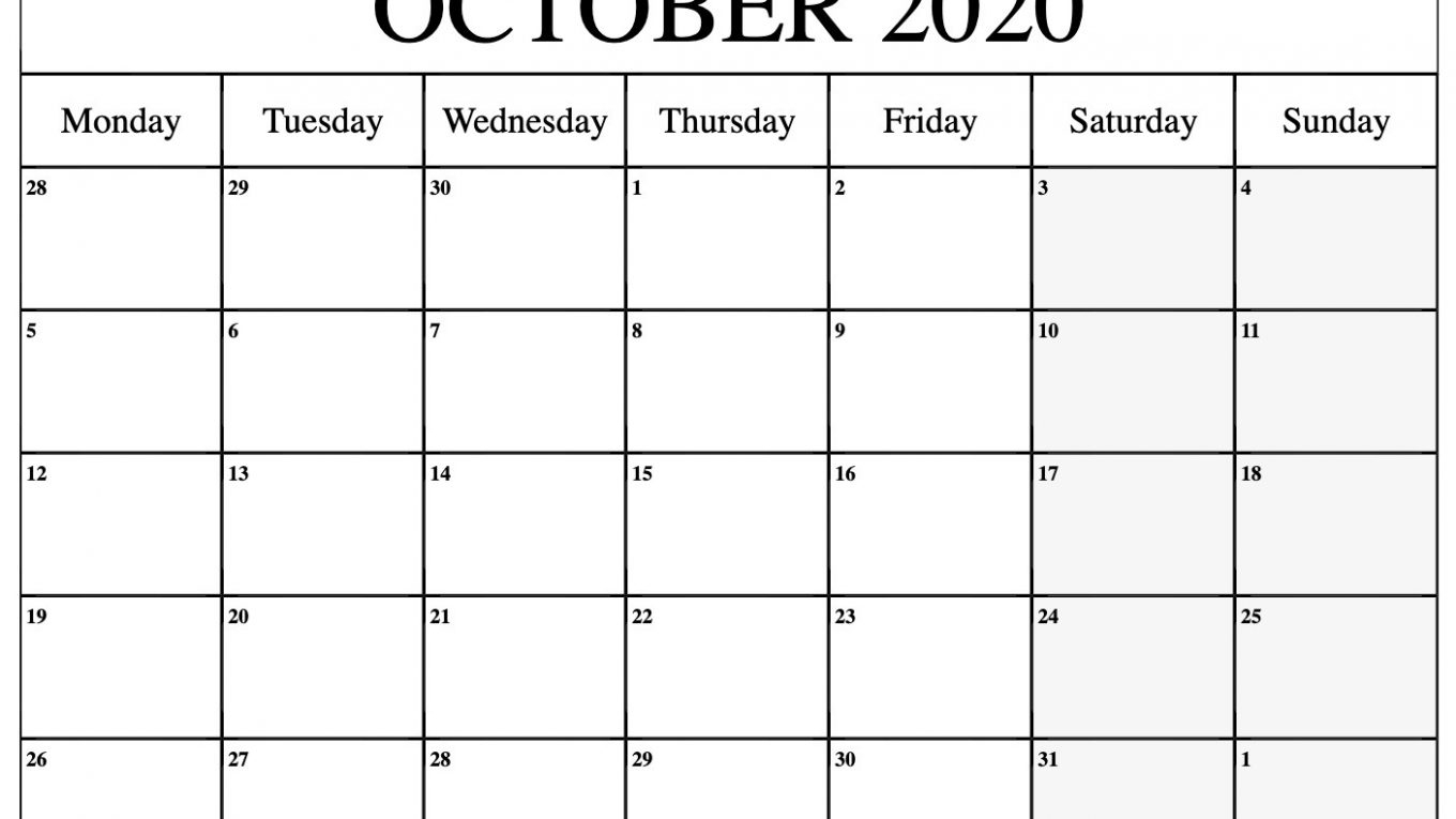 October 2020 Calendar - Free Calendar Printable Template