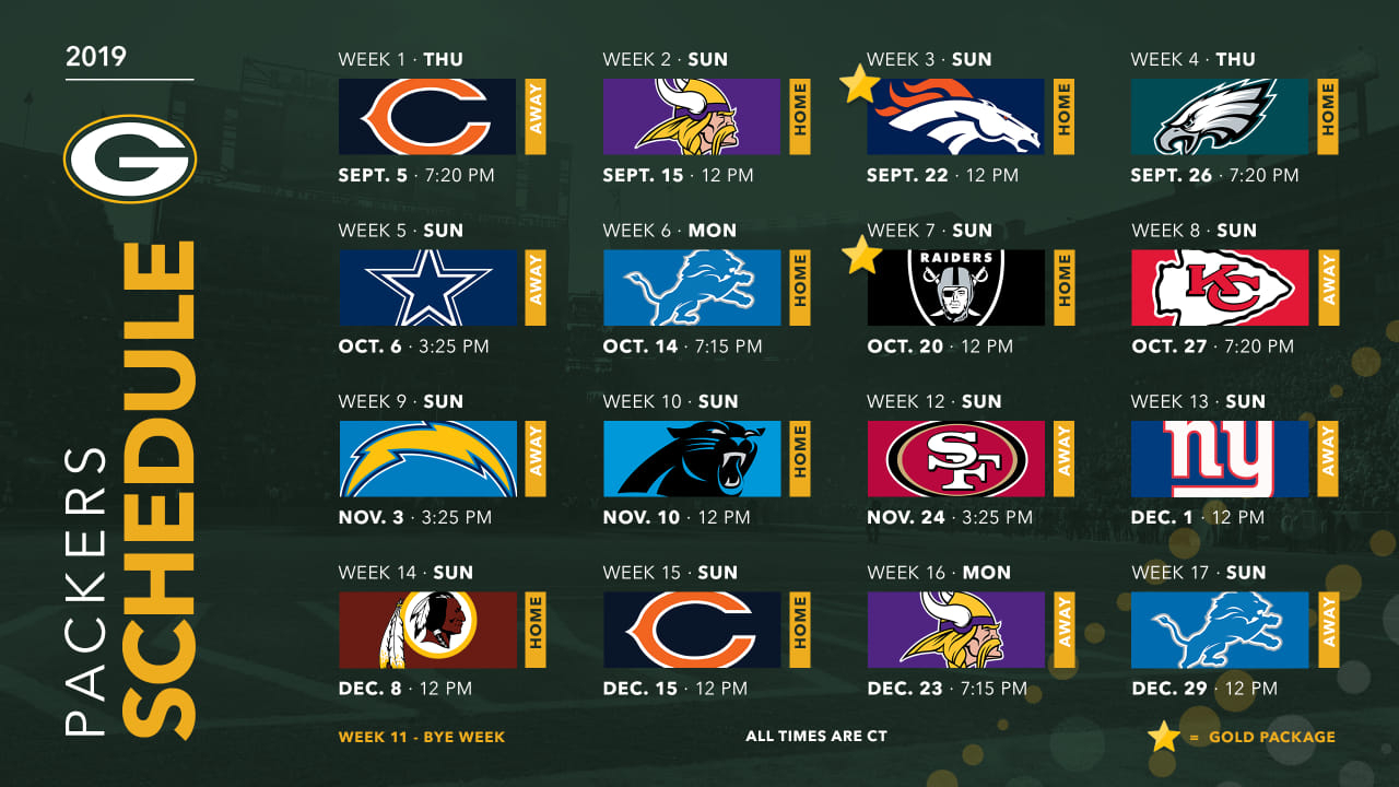 Packers Announce 2019 Schedule