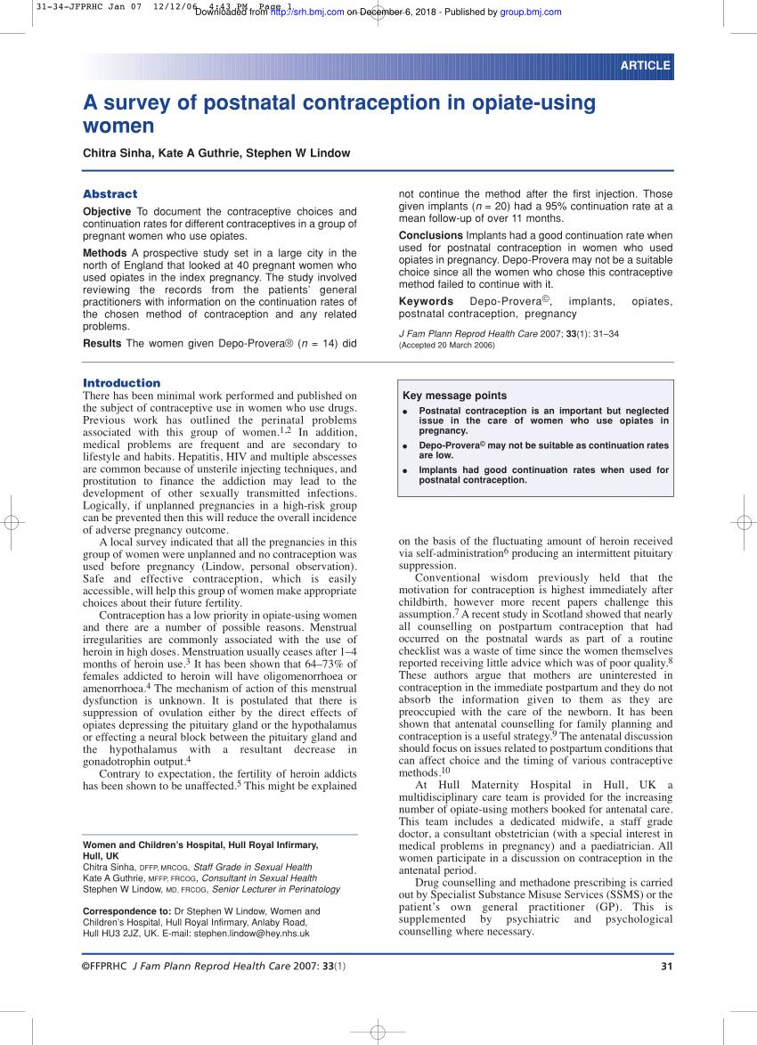 Pdf) A Survey Of Postnatal Contraception In Opiate-Using Women