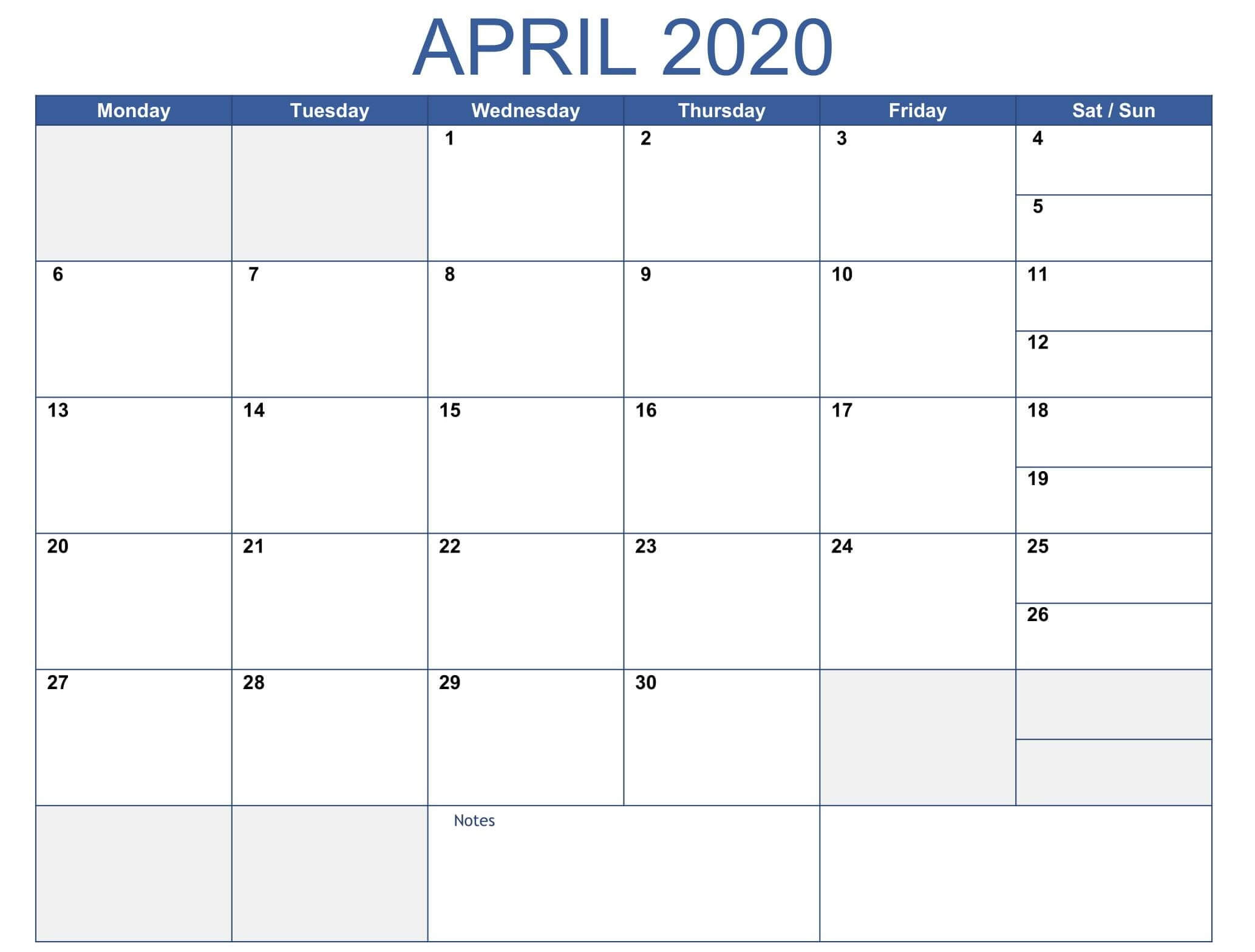 Print April 2020 Calendar Template Pdf Excel - Web Galaxy