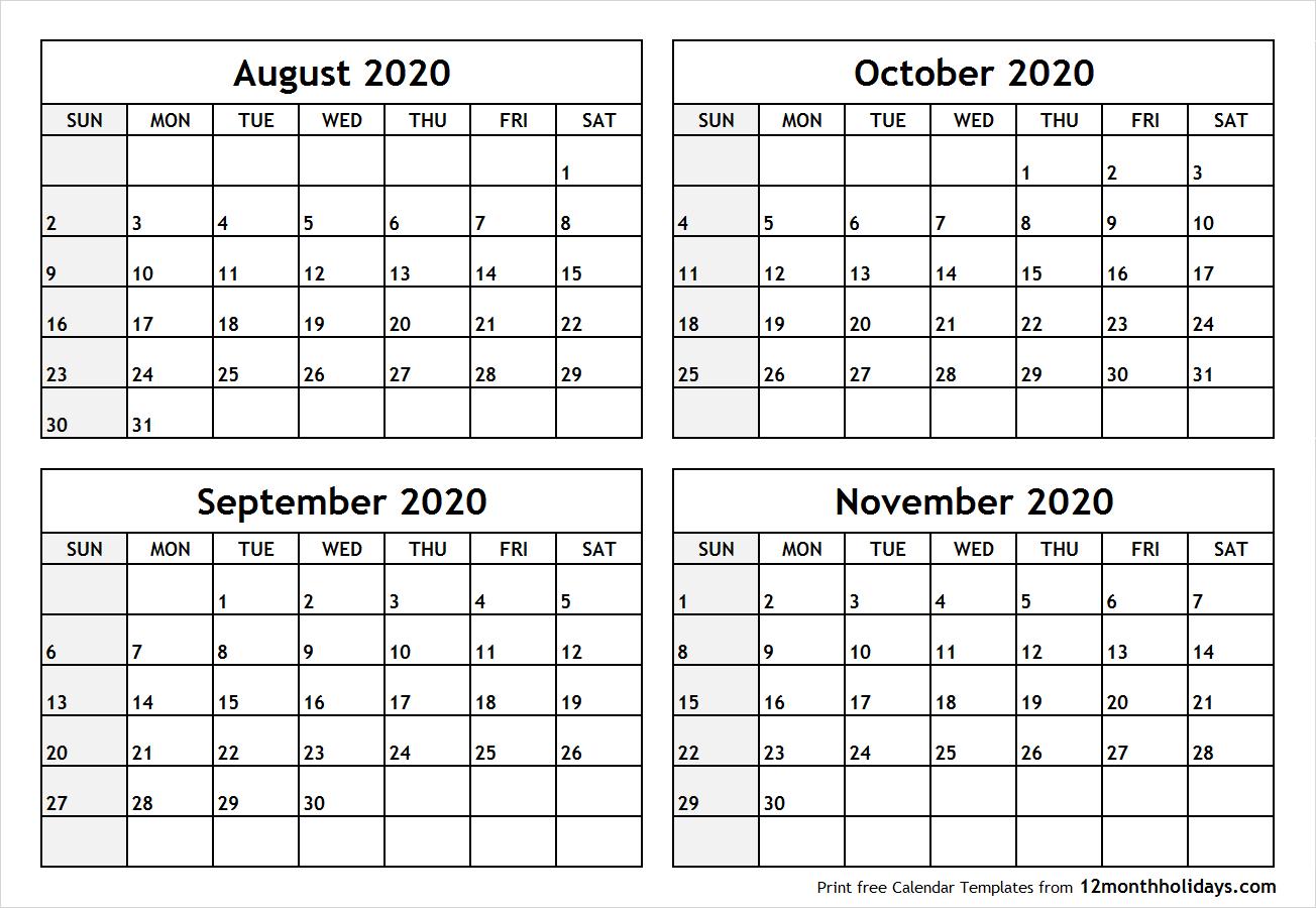 Print Four Month August September October November 2020 Calendar