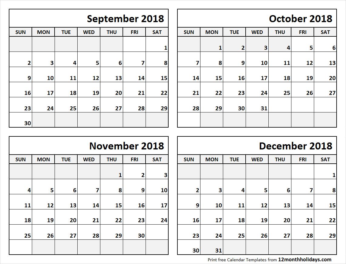 Print September To December 2018 Calendar Template