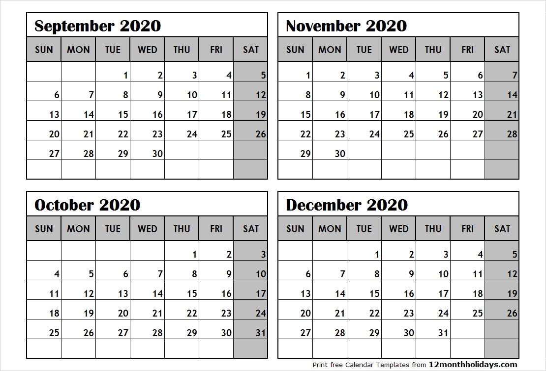 Print September To December 2020 Calendar Template | 4 Month