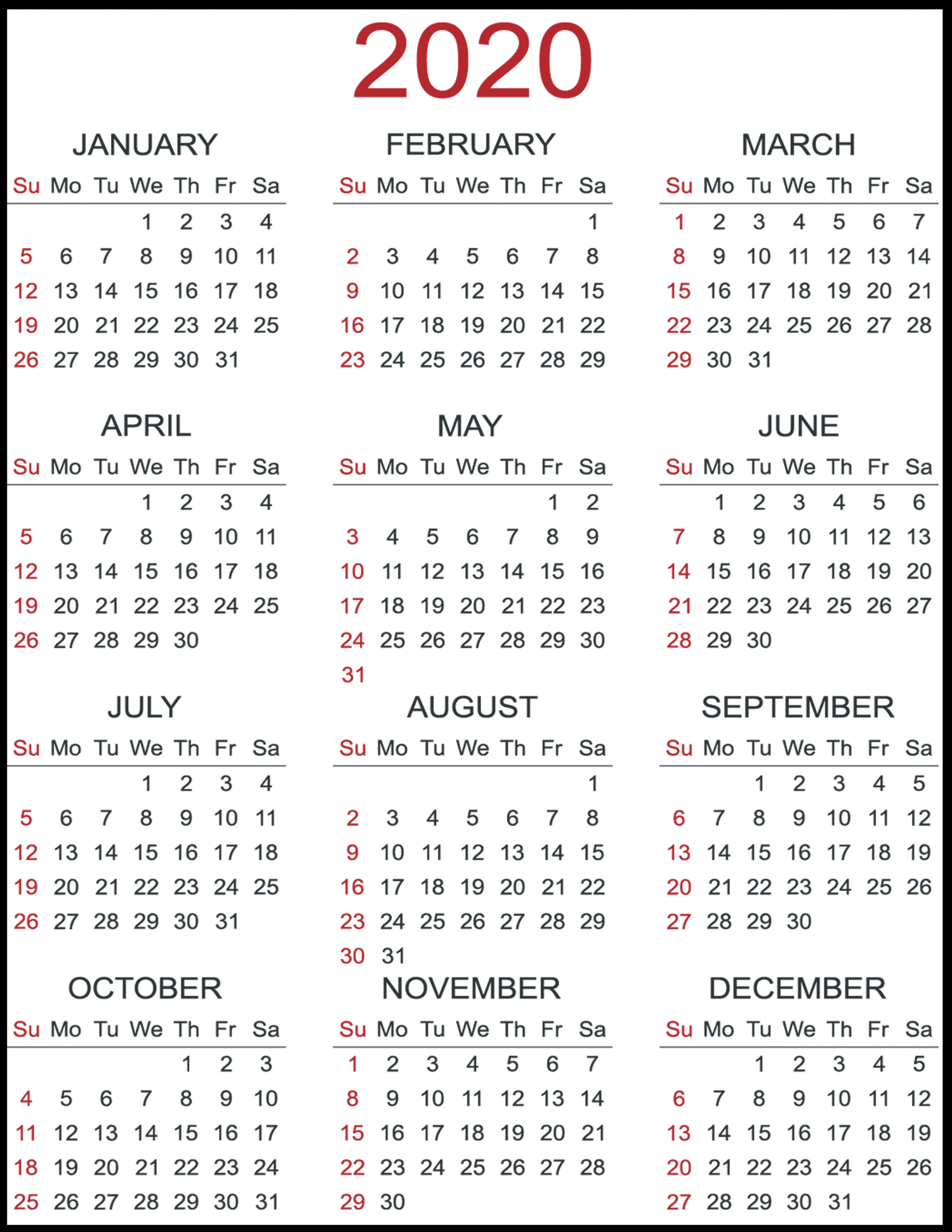 Print Yearly Calendar 2020 Free | Calendar Printables Free