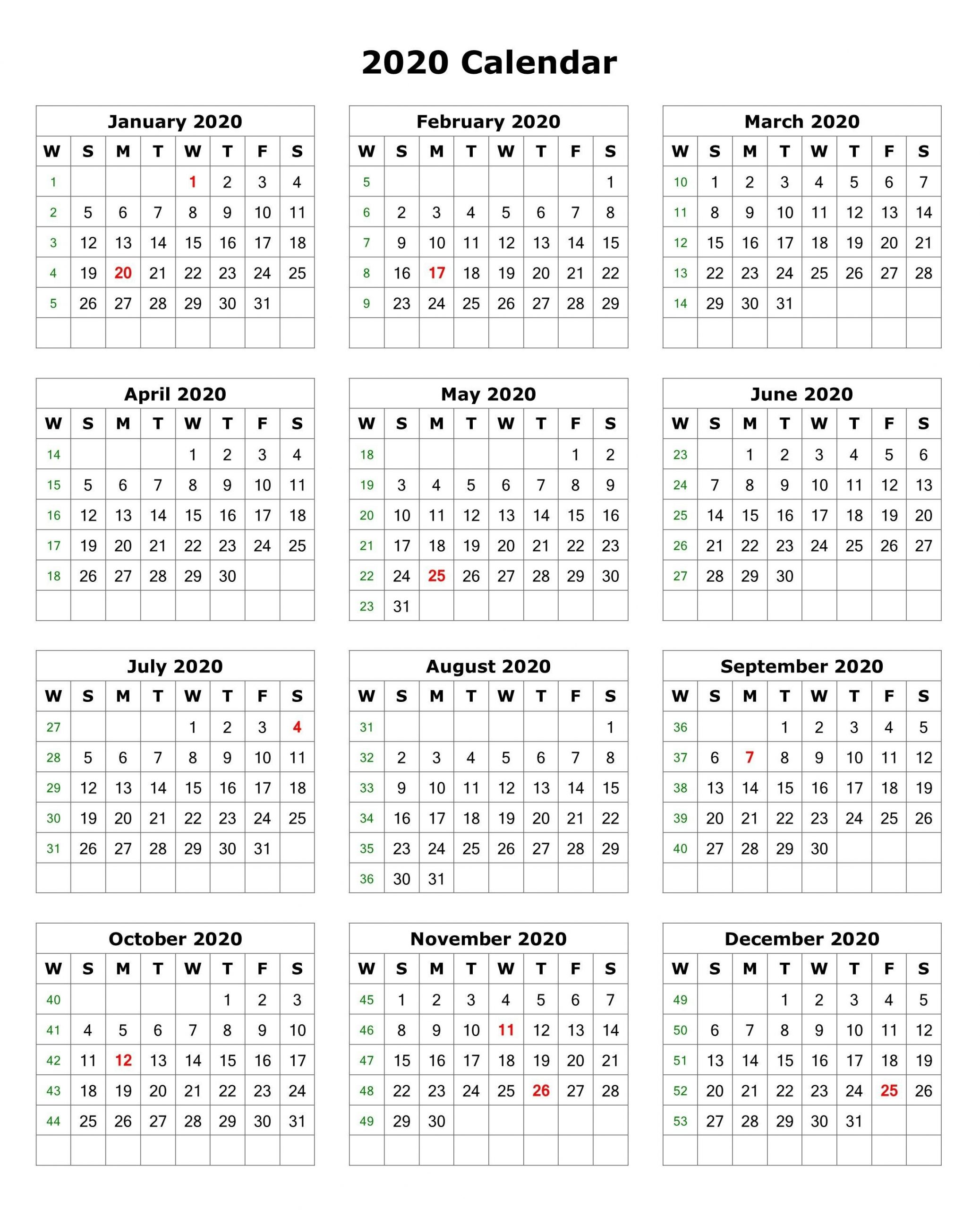 Printable 1 Page 2020 Calendar (With Images) | Calendar
