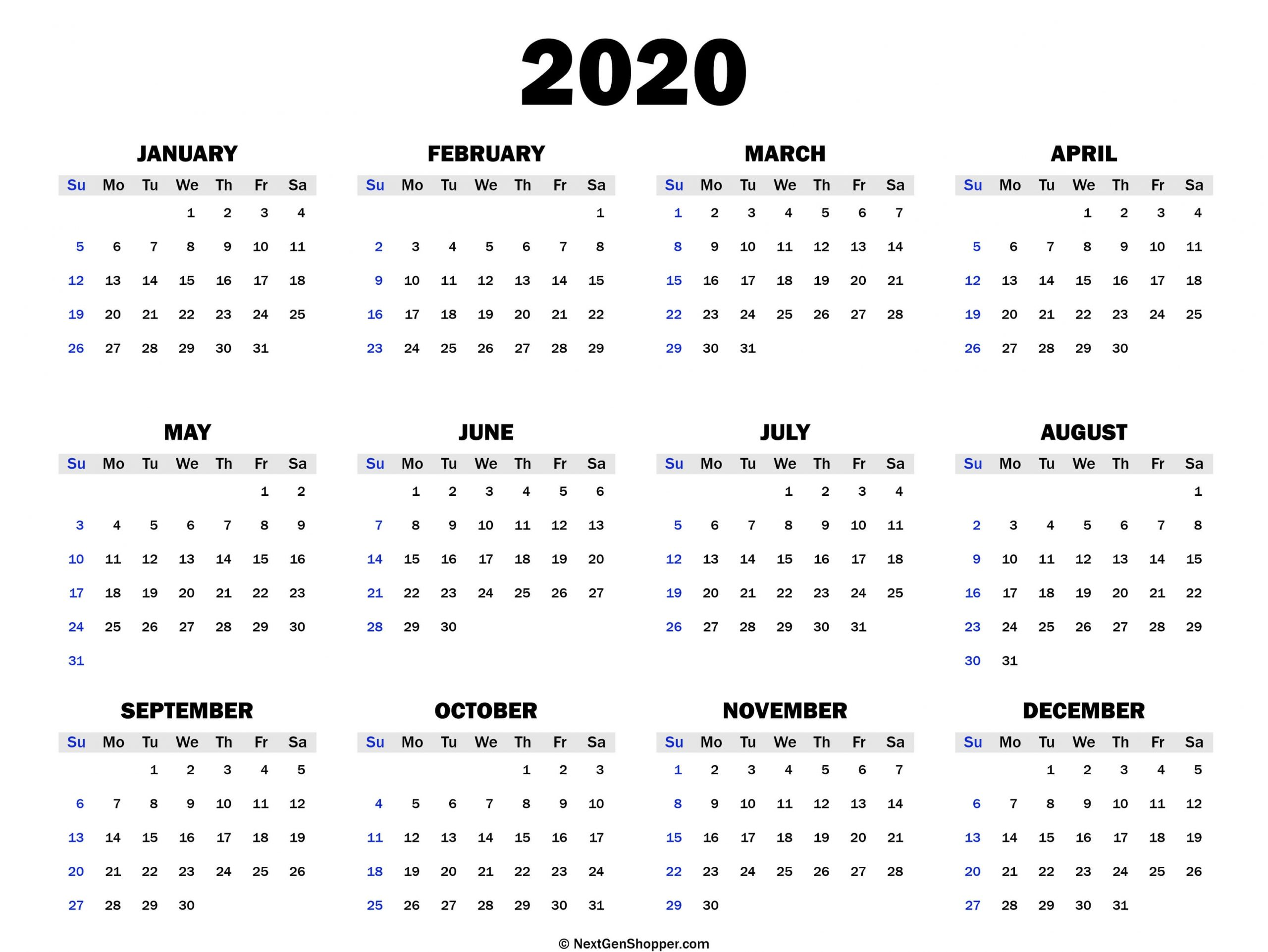 Printable 2020 Calendar Template - Task Management Guide