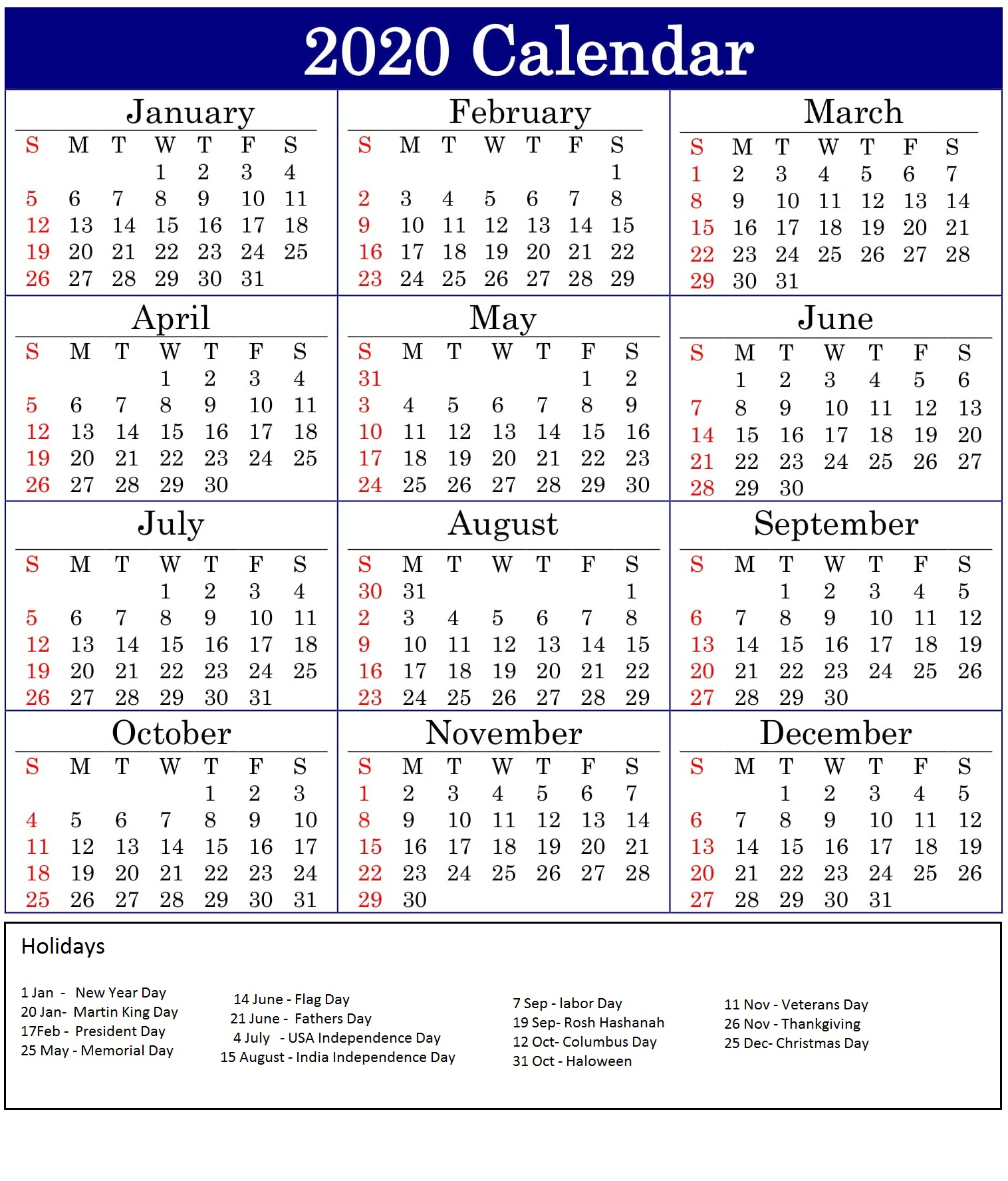 calendar of american holidays 2020