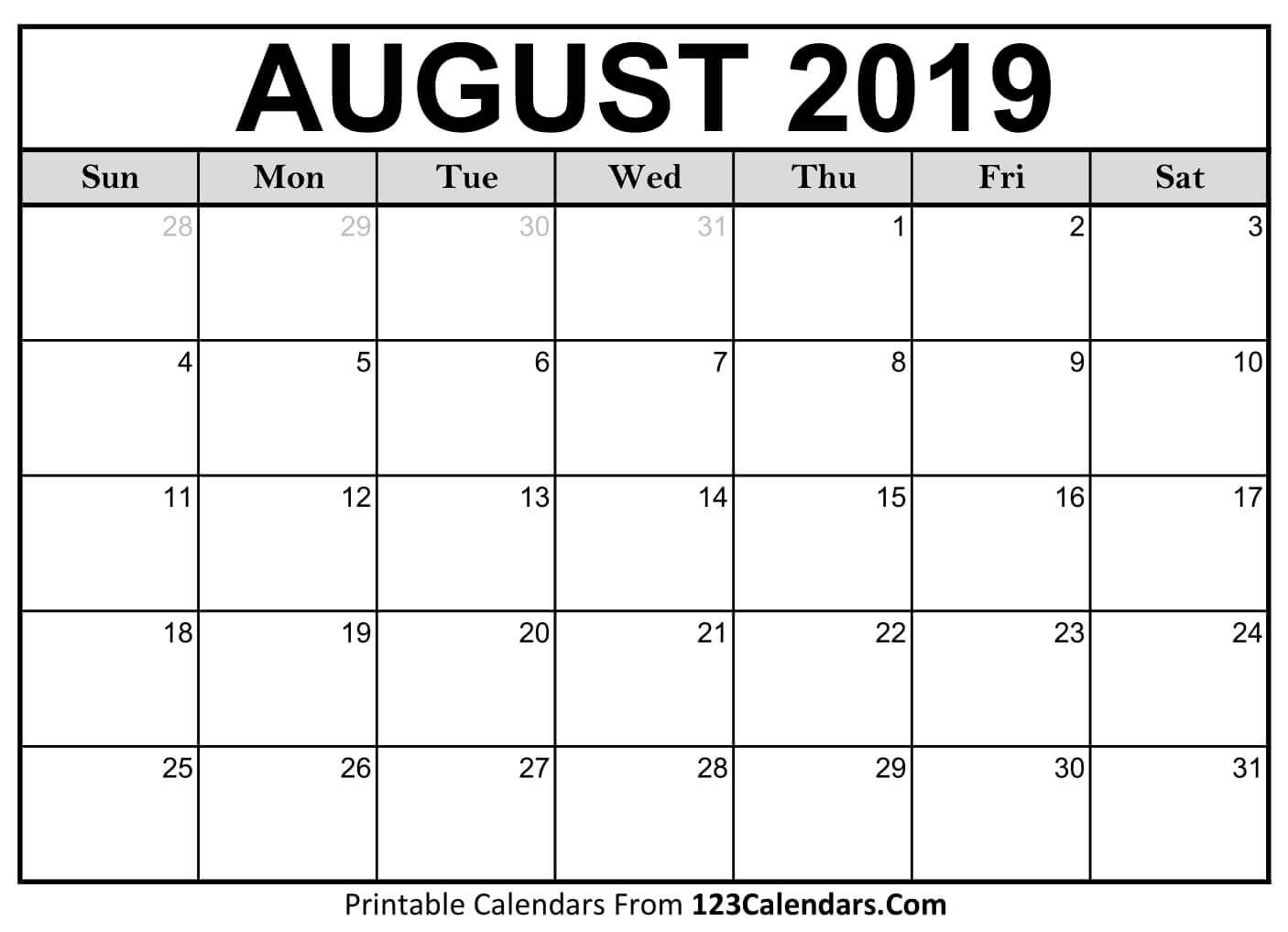 Printable August 2019 Calendar Templates - 123Calendars Make