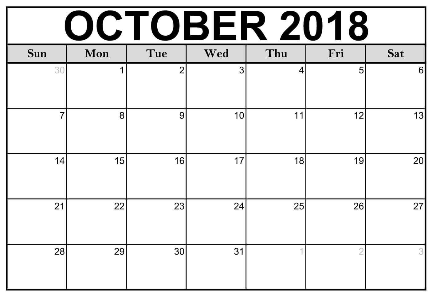 Printable Calendar 2018 October | Editable Calendar
