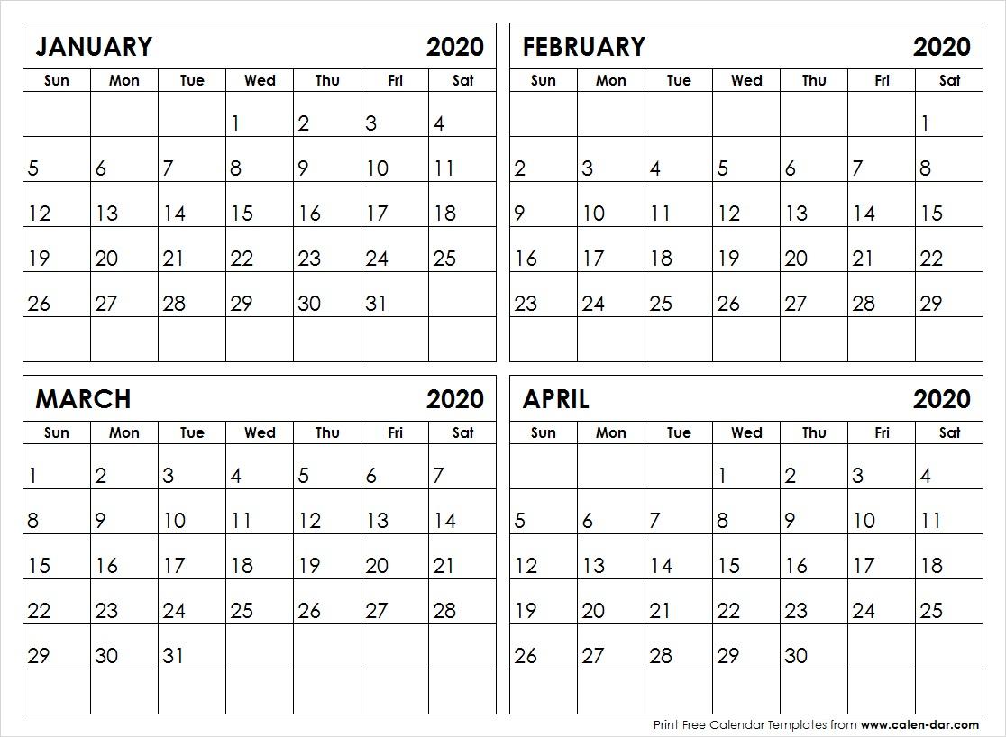 Printable Calendar 2020 Template | January To December 2020
