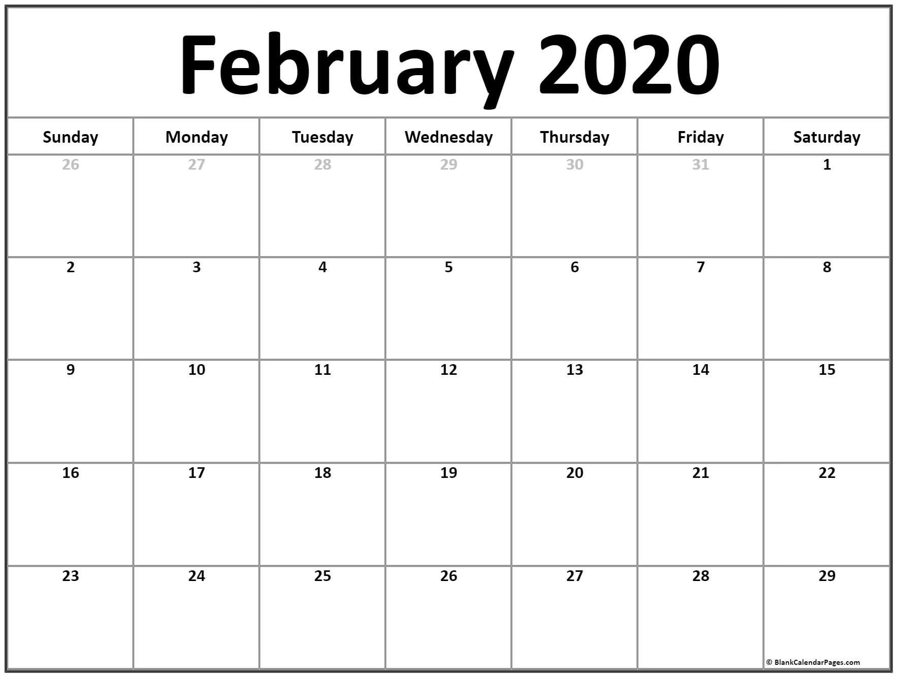 Printable Calendar For February 2020 | Monthly Calendar