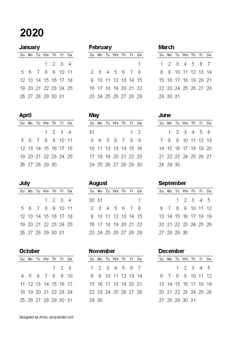 Printable Calendar Template 2020 | Календарь Для Печати
