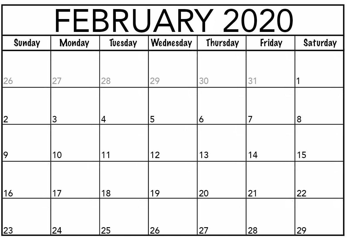 Printable February 2020 Calendar Usa Flag Template - Set