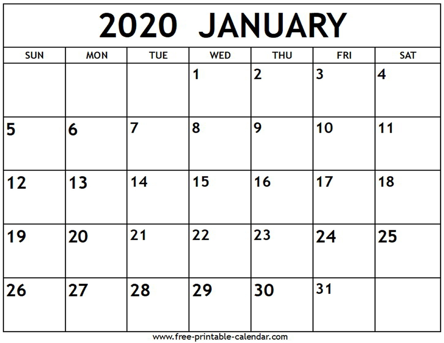 Printable January 2020 Calendar Canada | Monthly Printable