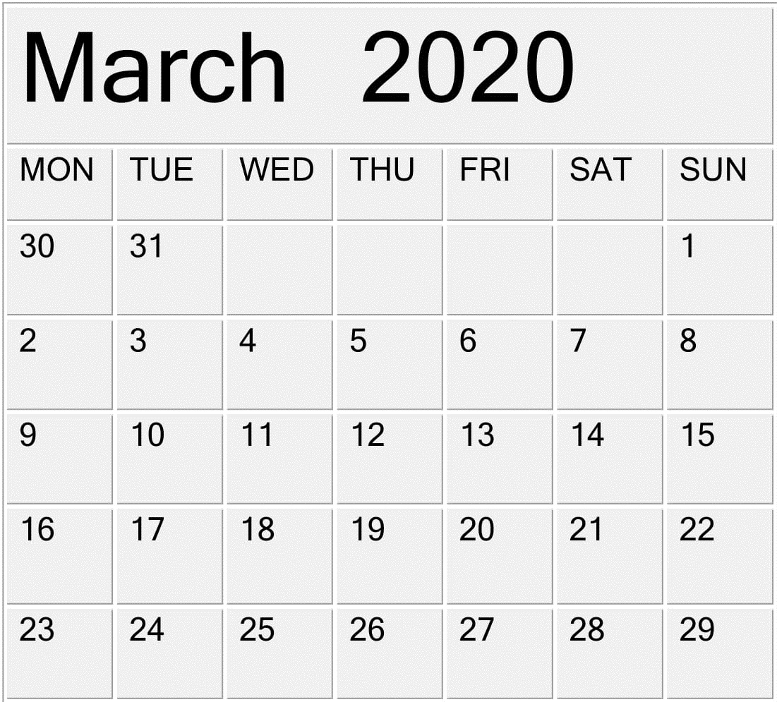 Printable March 2020 Calendar Free Pdf Template – Free