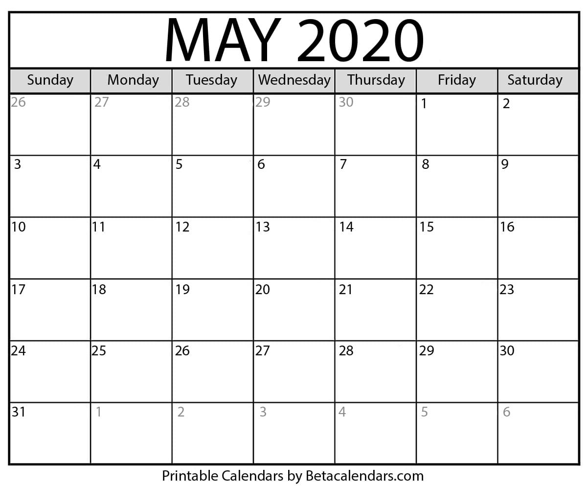 Printable May 2020 Calendar - Beta Calendars