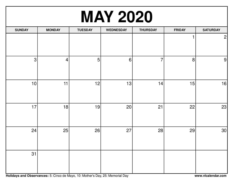 Printable May 2020 Calendars - News On 6