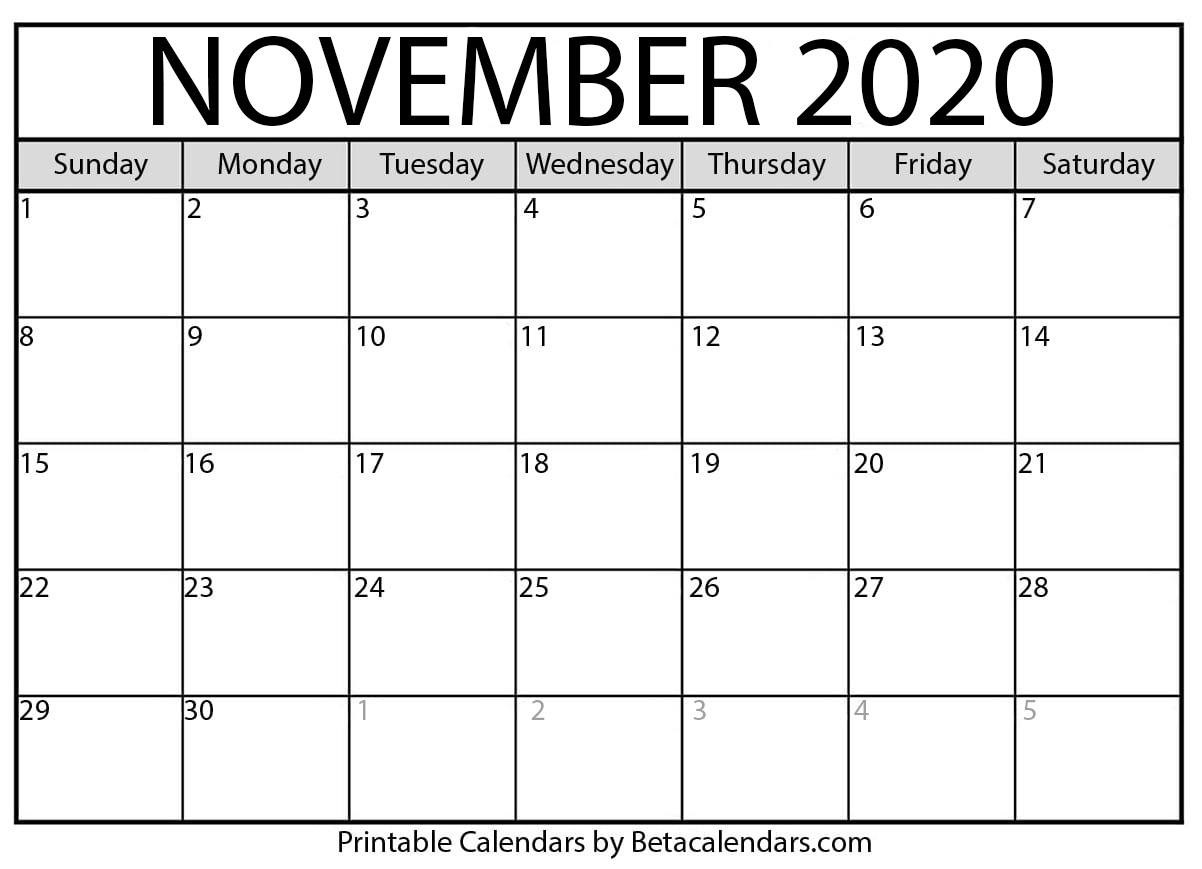 Printable November 2020 Calendar - Beta Calendars