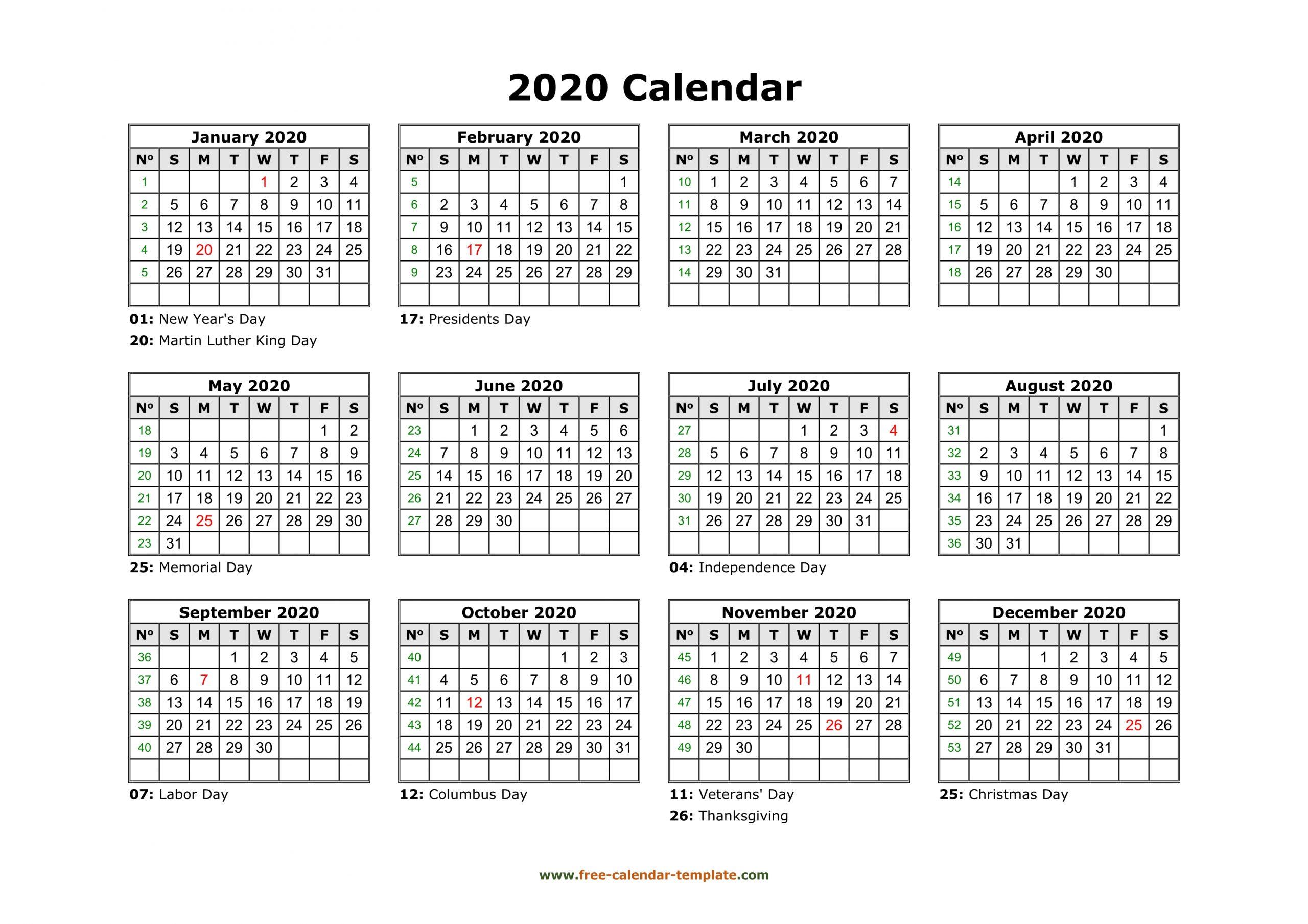 Printable Yearly Calendar 2020 | Free-Calendar-Template