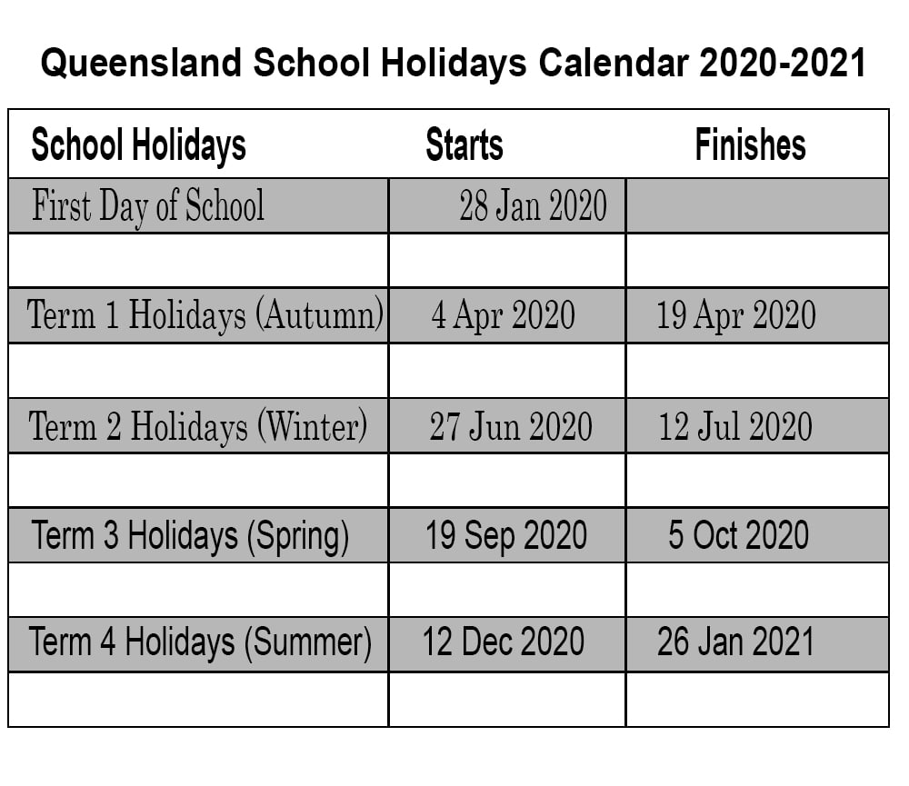Queensland 2020 School Holidays Calendar Template