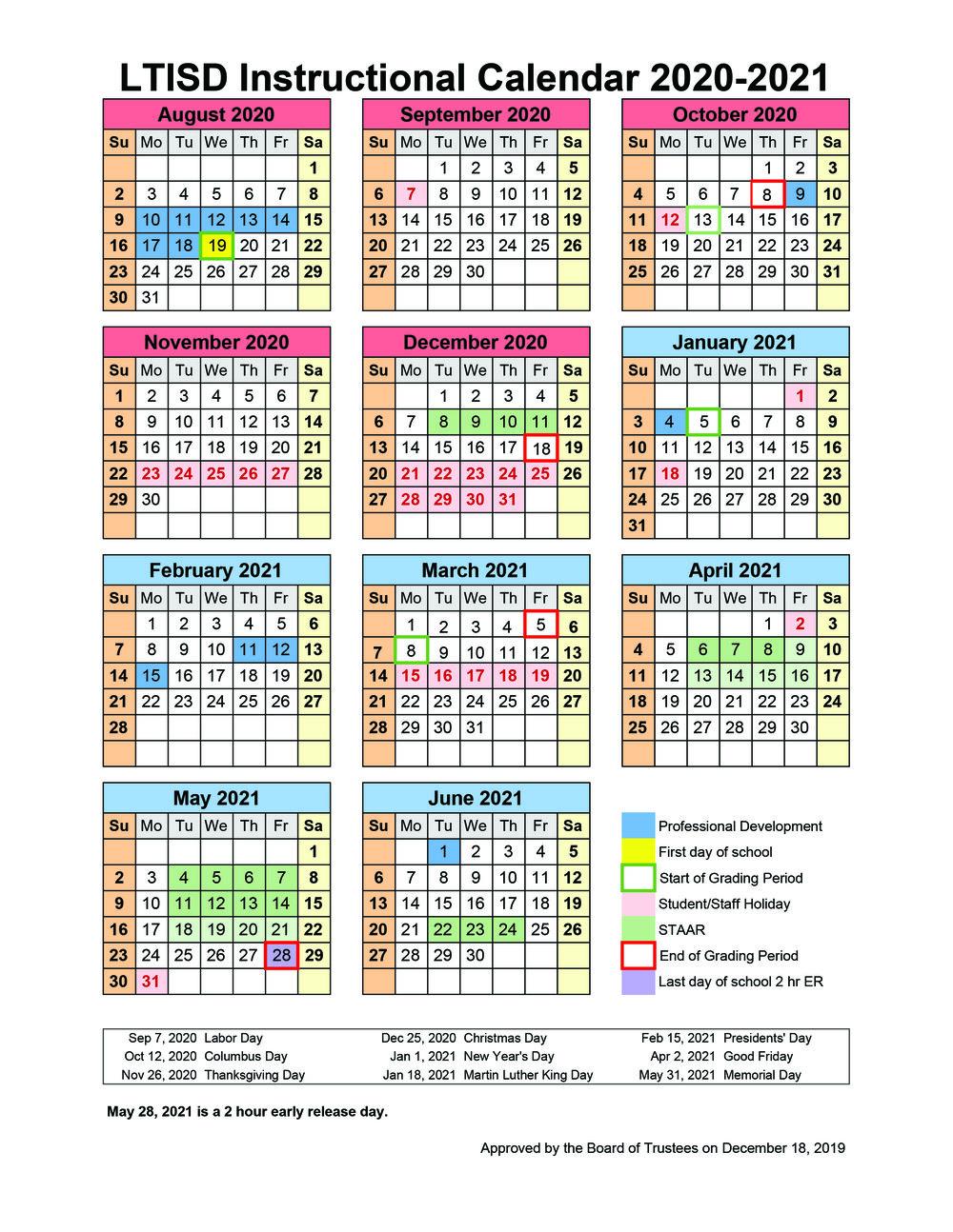 School Board Approves 2020-2021 Instructional Calendar