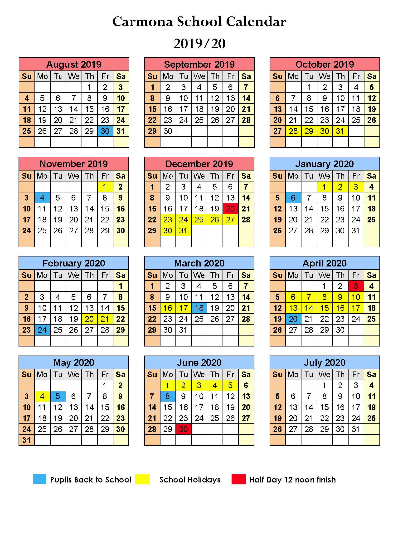 School Calendar 2019/2020 - Carmona School