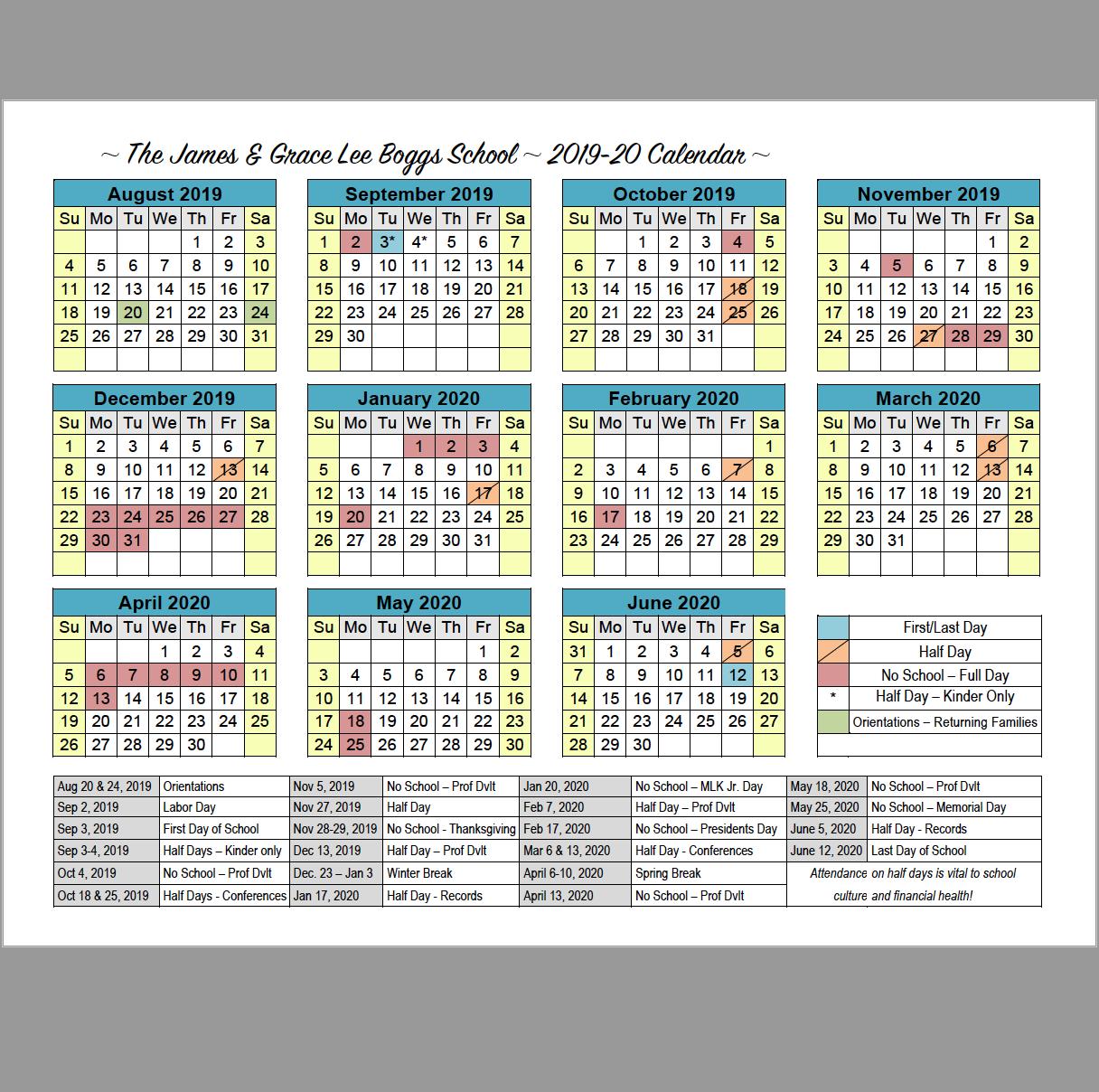 School Calendars | Boggs Educational Center