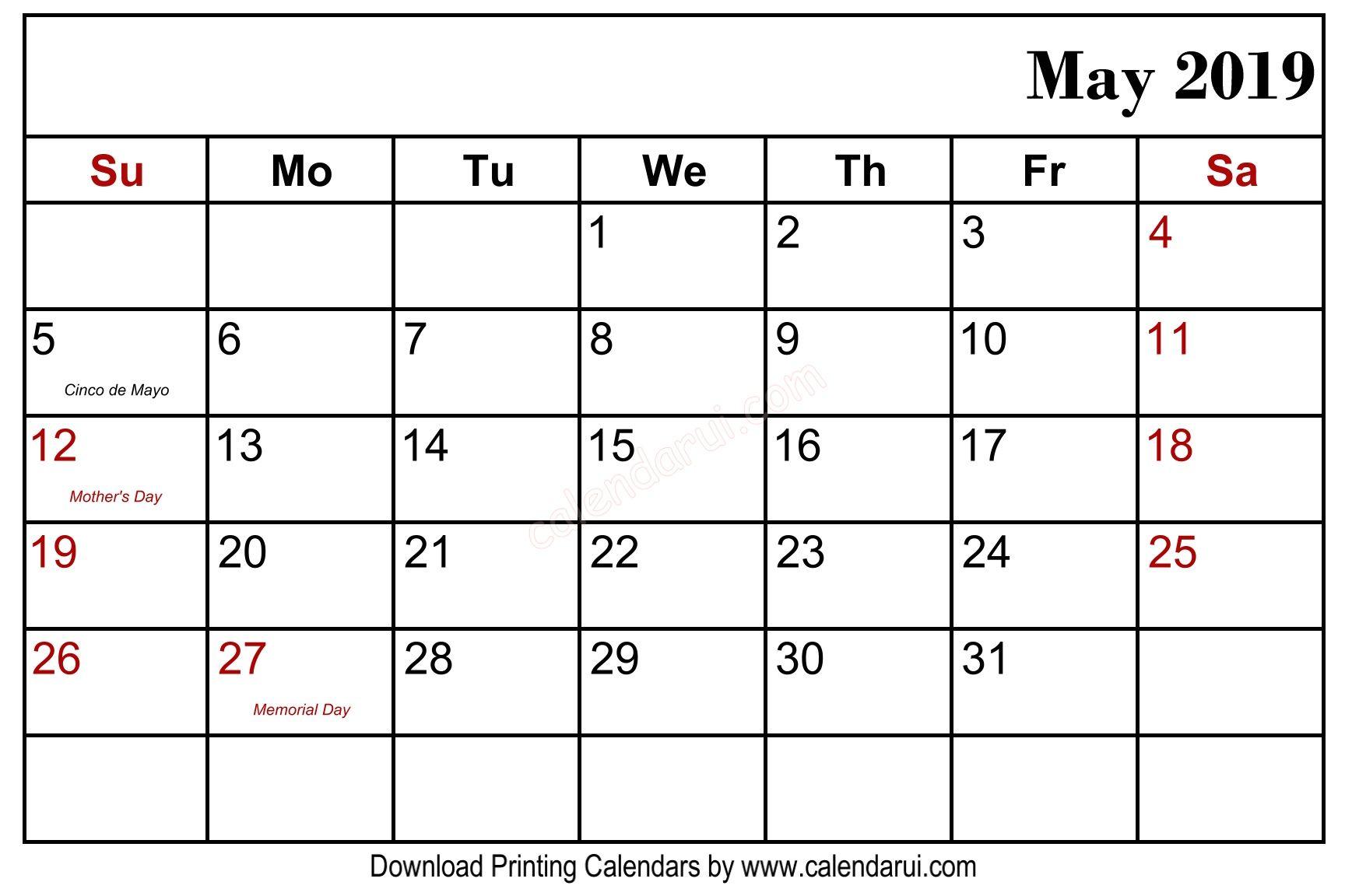 The Best May 2019 Calendar Holidays Printable | Calendar