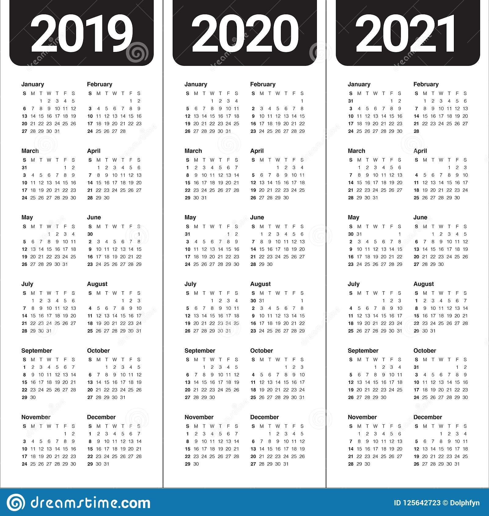 Year 2019 2020 2021 Calendar Vector Design Template Stock