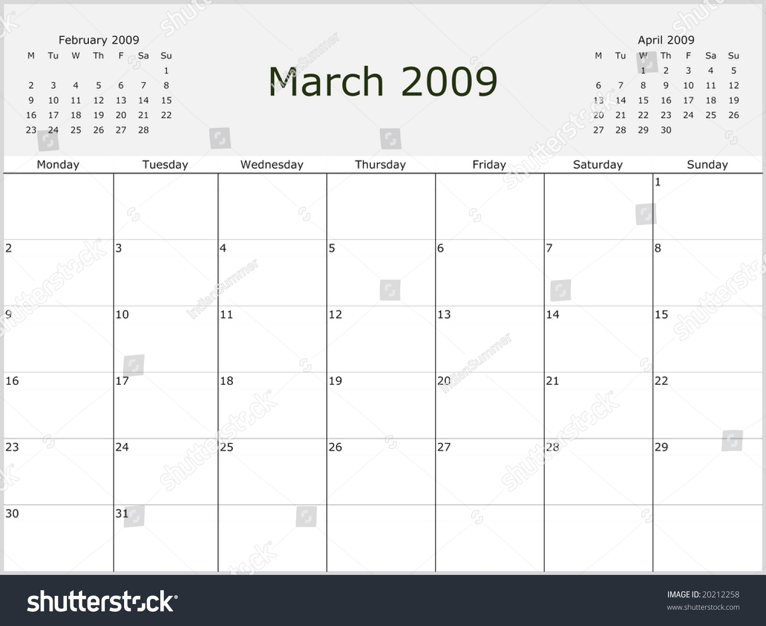 2009 Year Monthly Calendar With Previous And Next Months